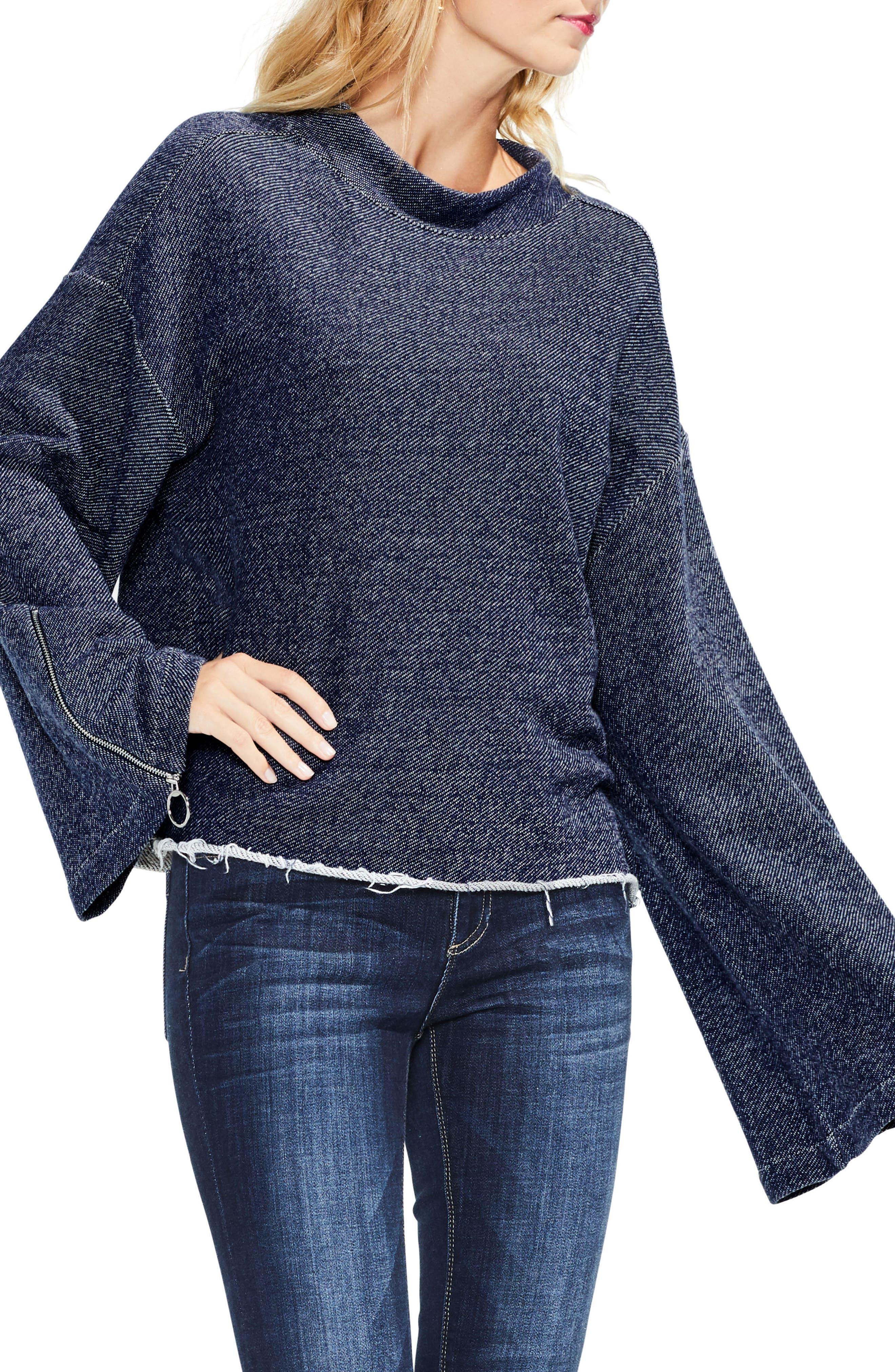 Zip Bell Sleeve Top,                         Main,                         color, 430