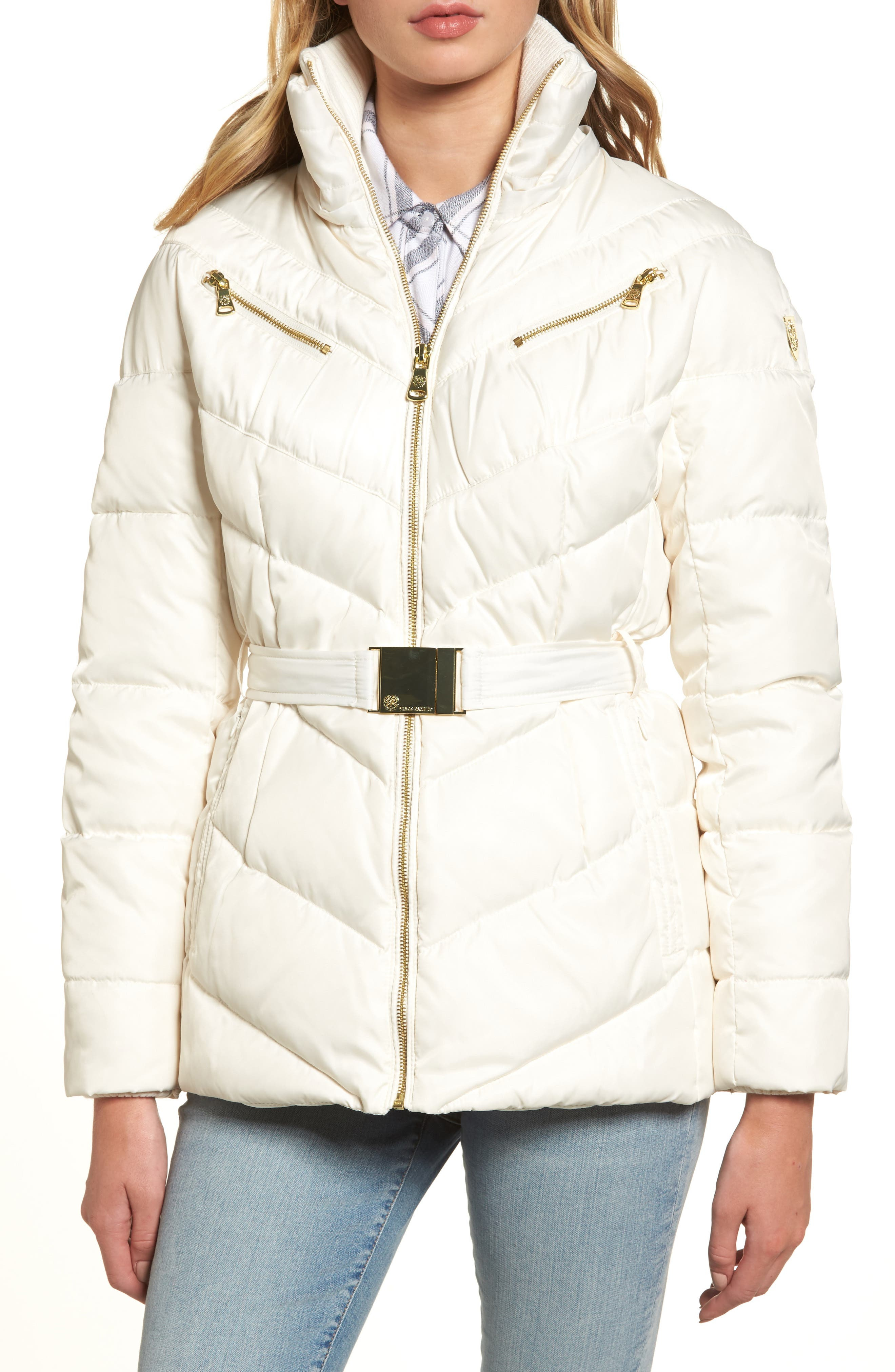 Belted Down & Feather Fill Coat with Faux Fur Trim Hood,                             Alternate thumbnail 14, color,