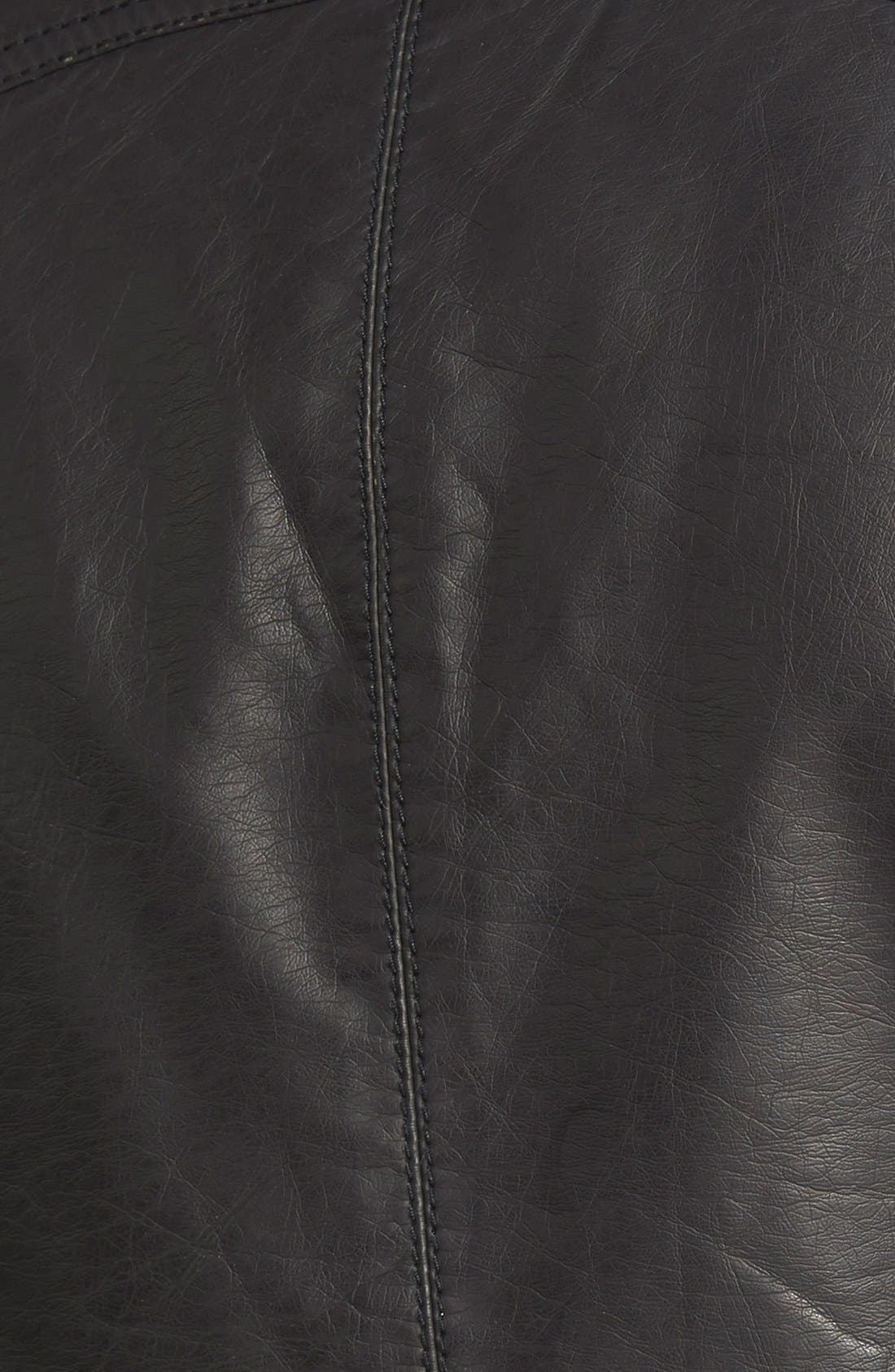 Hooded Faux Leather Moto Jacket,                             Alternate thumbnail 3, color,                             001