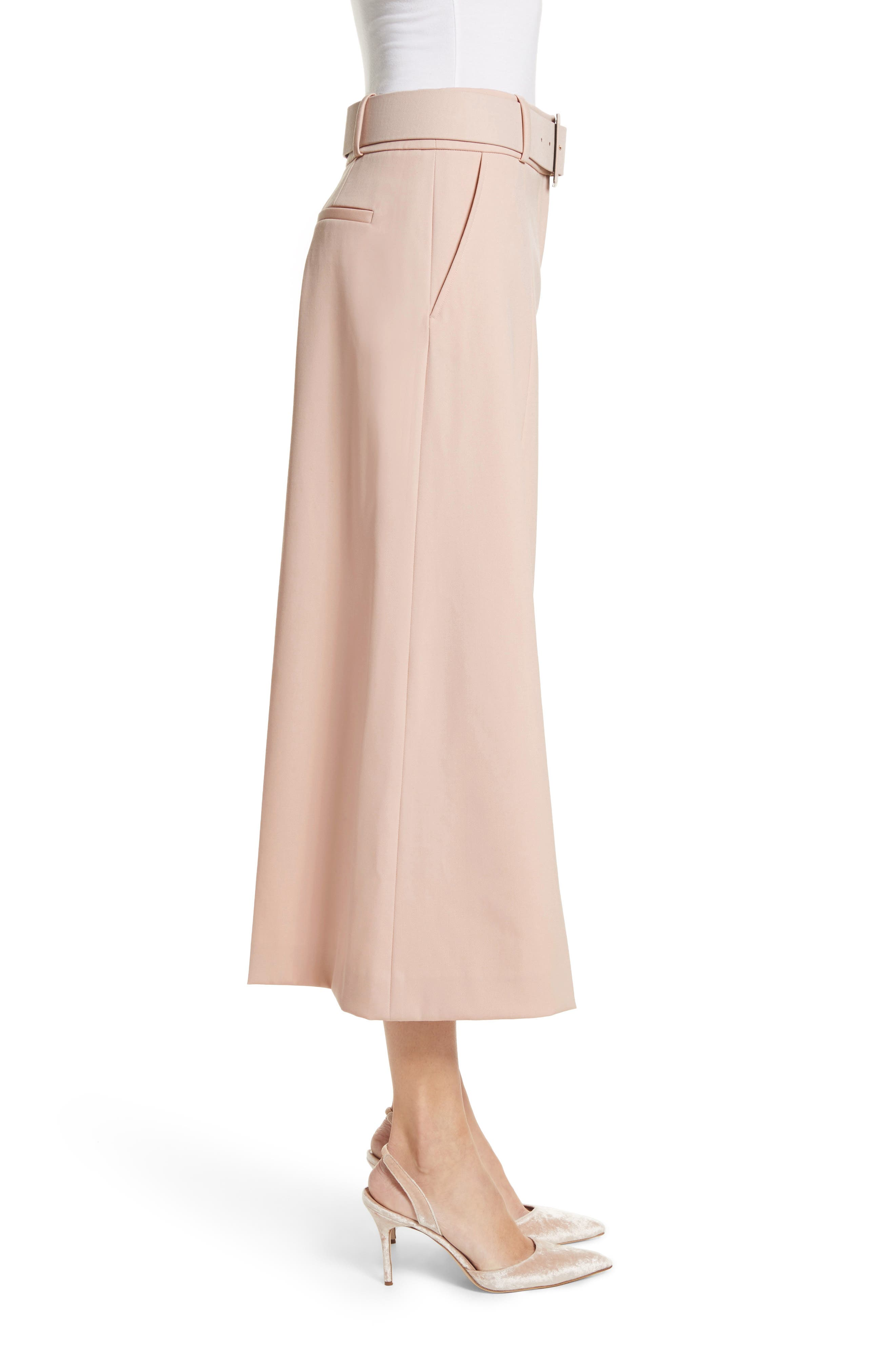Stretch Wool Gabardine Culottes,                             Alternate thumbnail 3, color,                             690