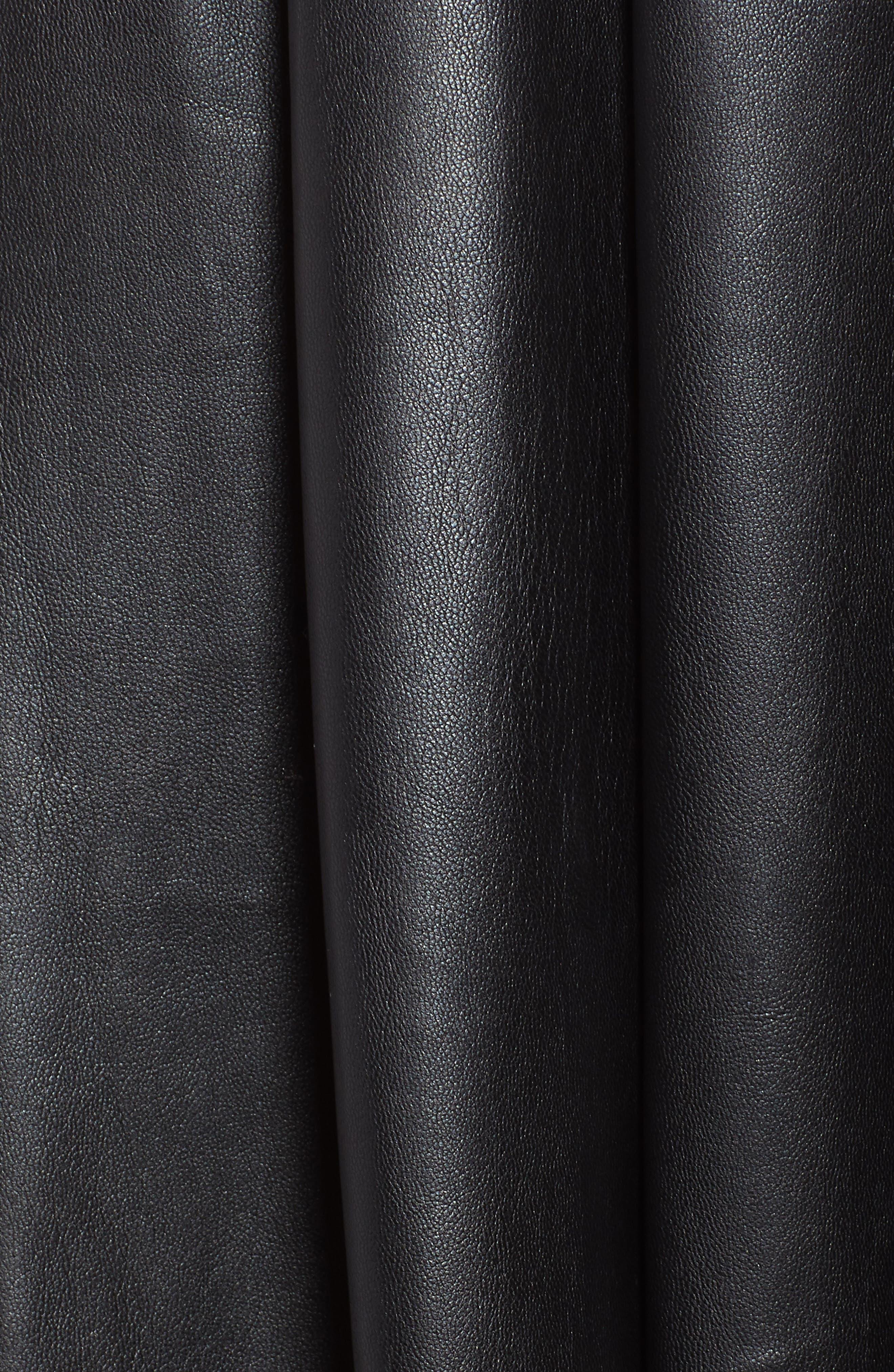 Hudson Faux Leather Midi Skirt,                             Alternate thumbnail 5, color,                             BLACK