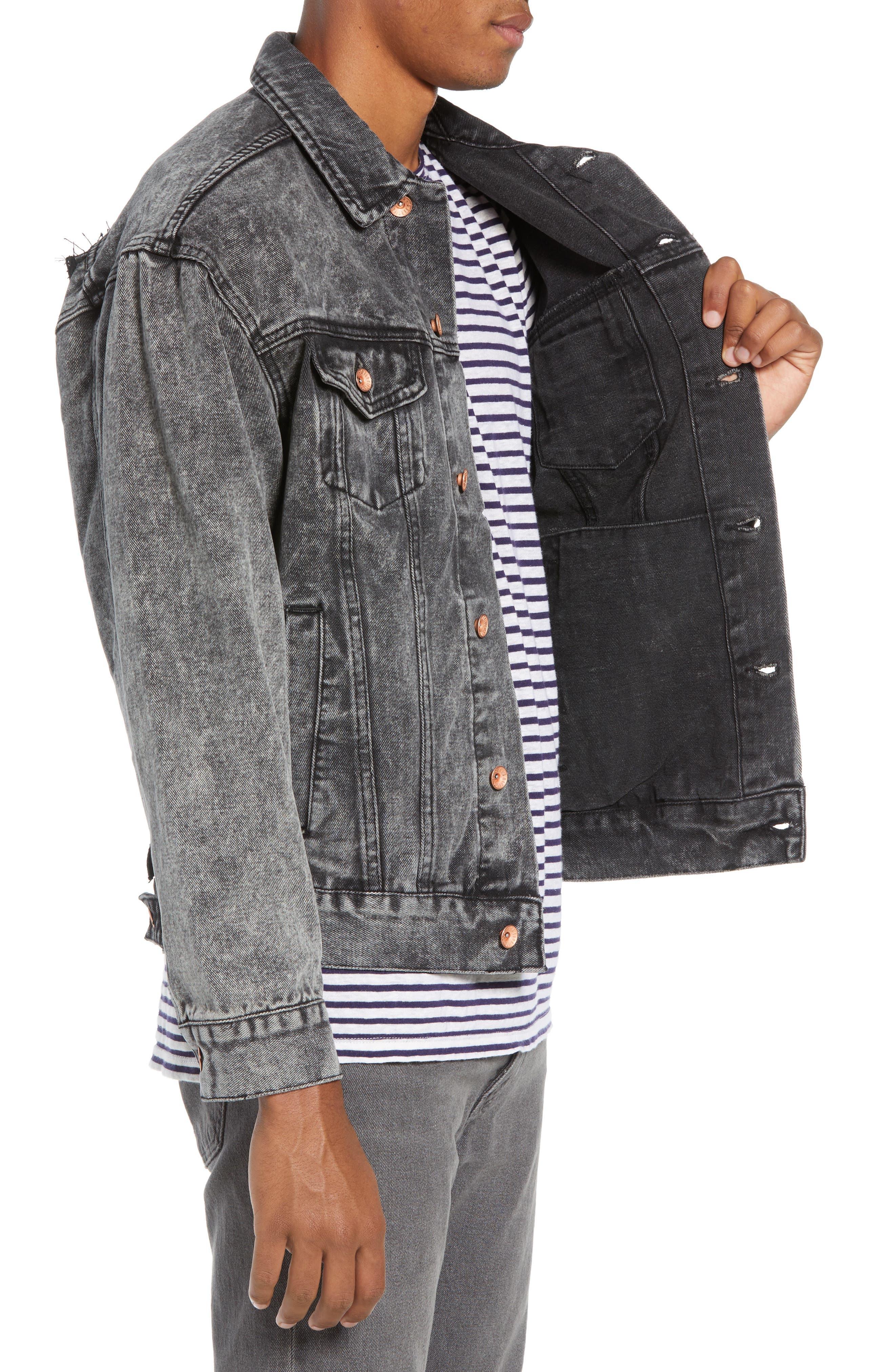 Classic Fit Denim Jacket,                             Alternate thumbnail 3, color,                             BLACK ACID WASH
