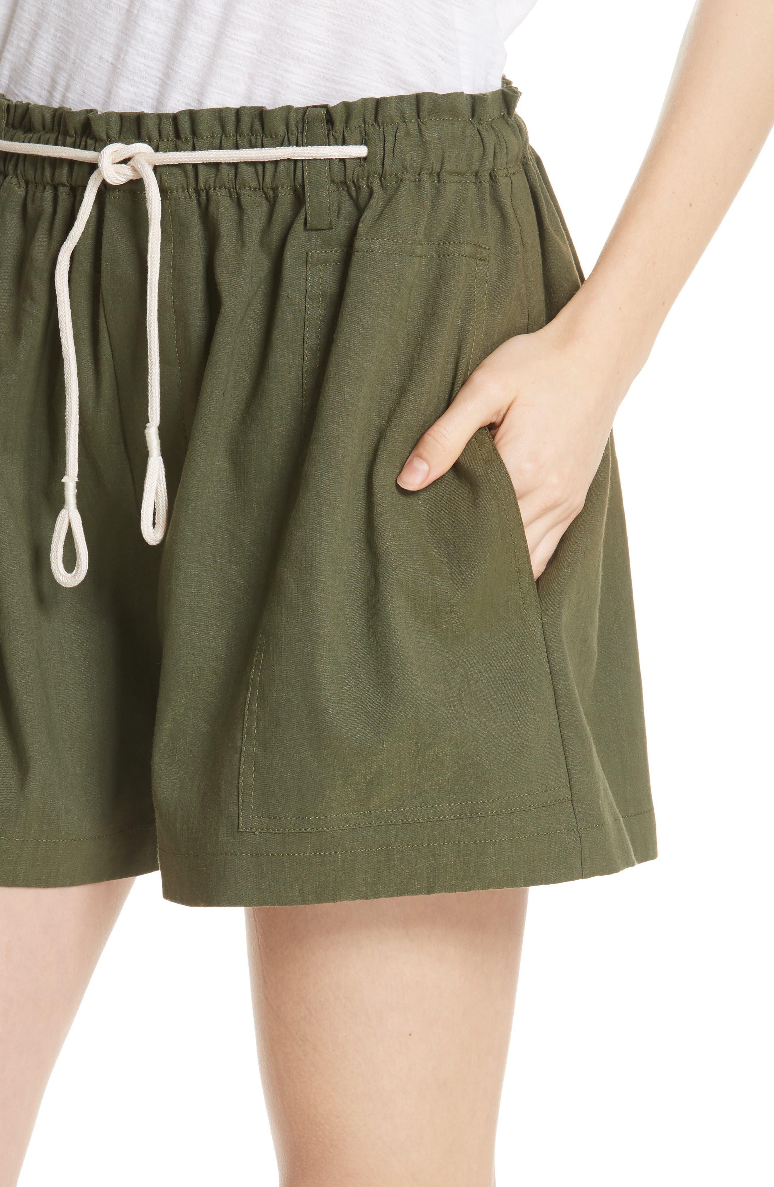 Rope Tie Linen Blend Shorts,                             Alternate thumbnail 12, color,