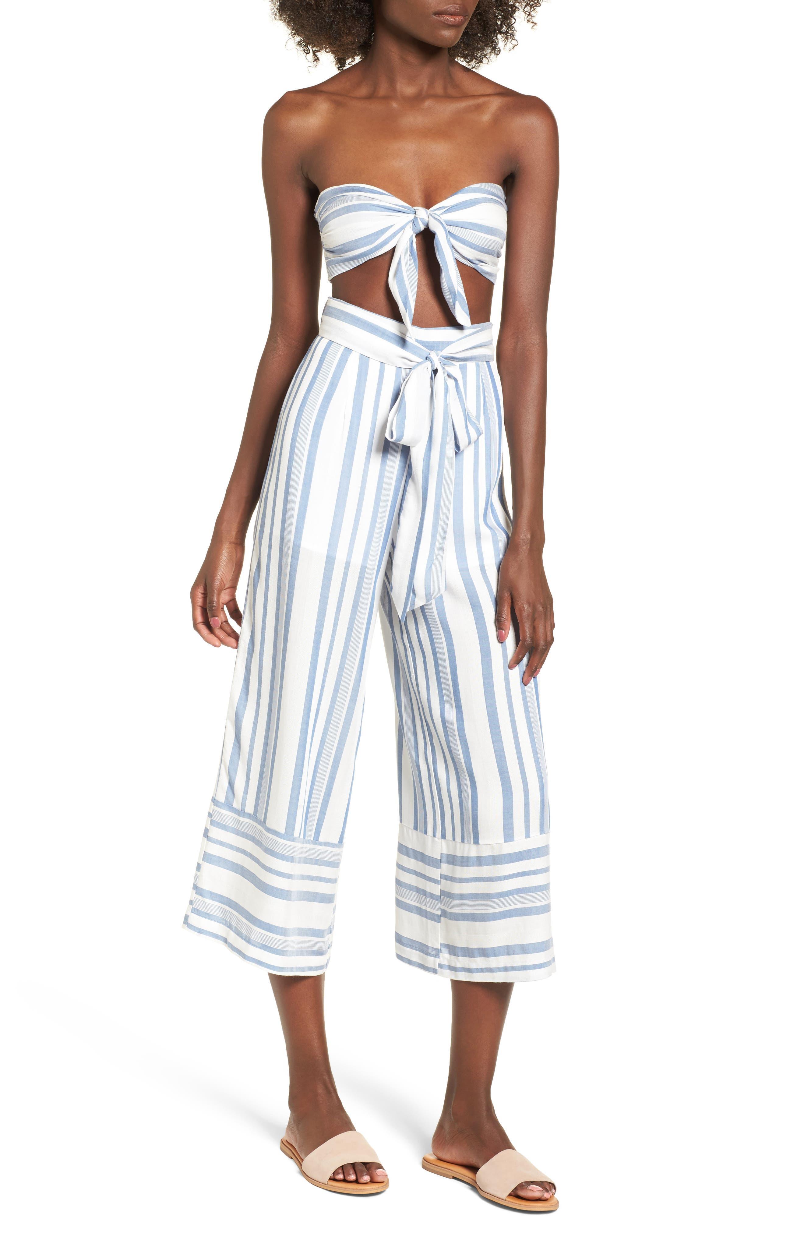 Marina Wide Leg Pants,                             Alternate thumbnail 7, color,                             WHITE/ BLUE