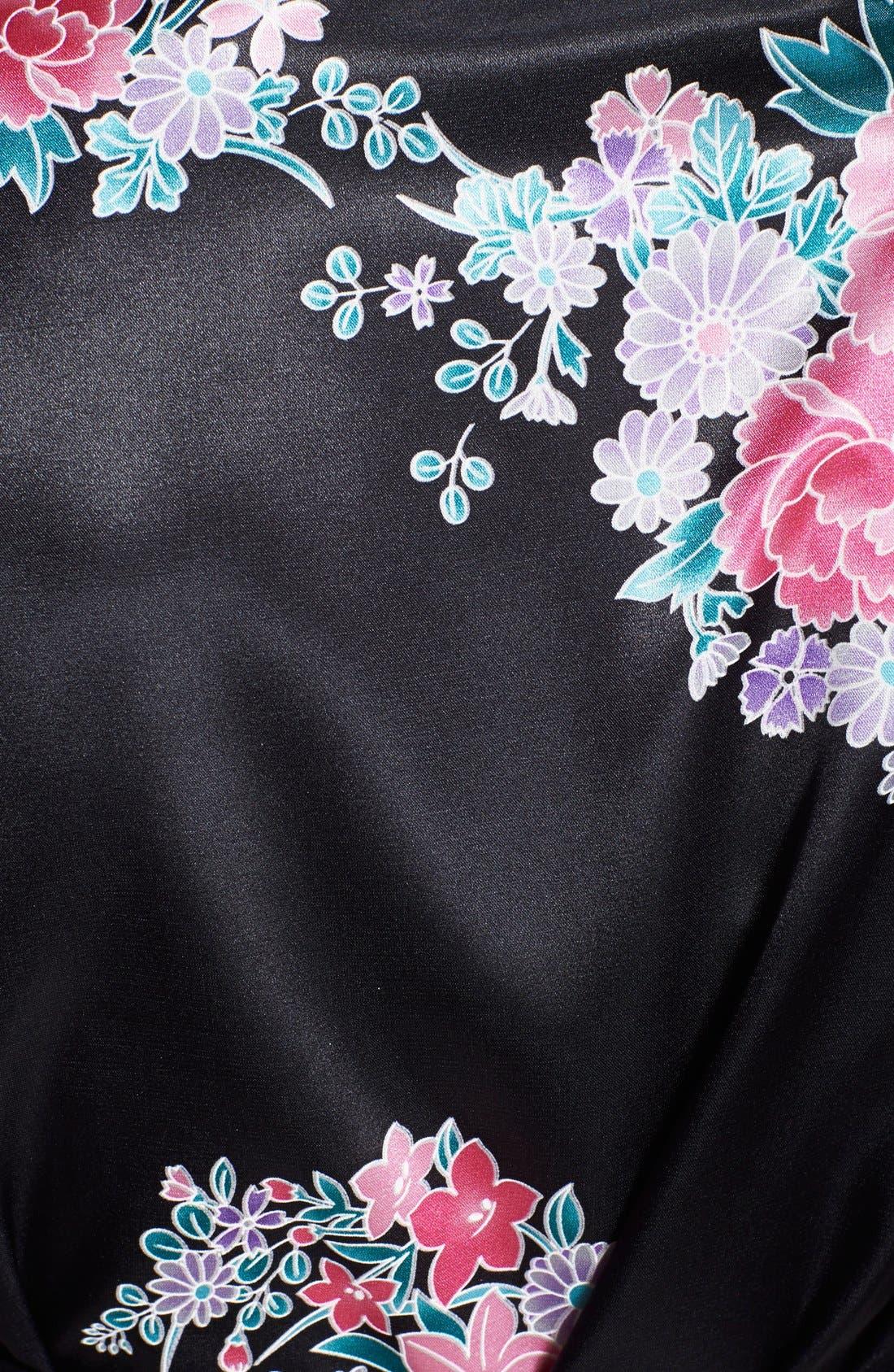 Monogram Floral Satin Robe,                             Alternate thumbnail 144, color,