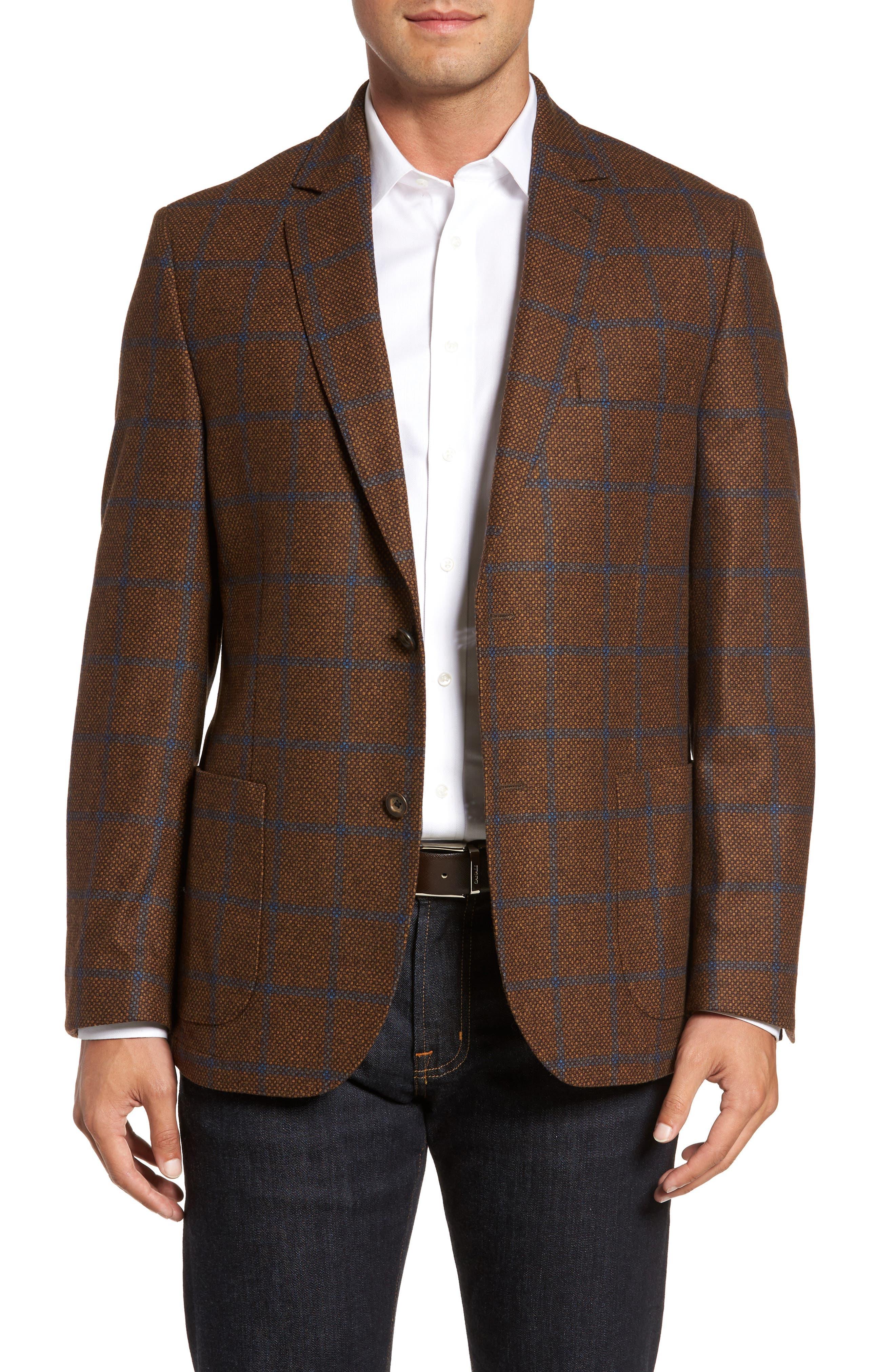 Classic Fit Windowpane Wool Sport Coat,                         Main,                         color, 220