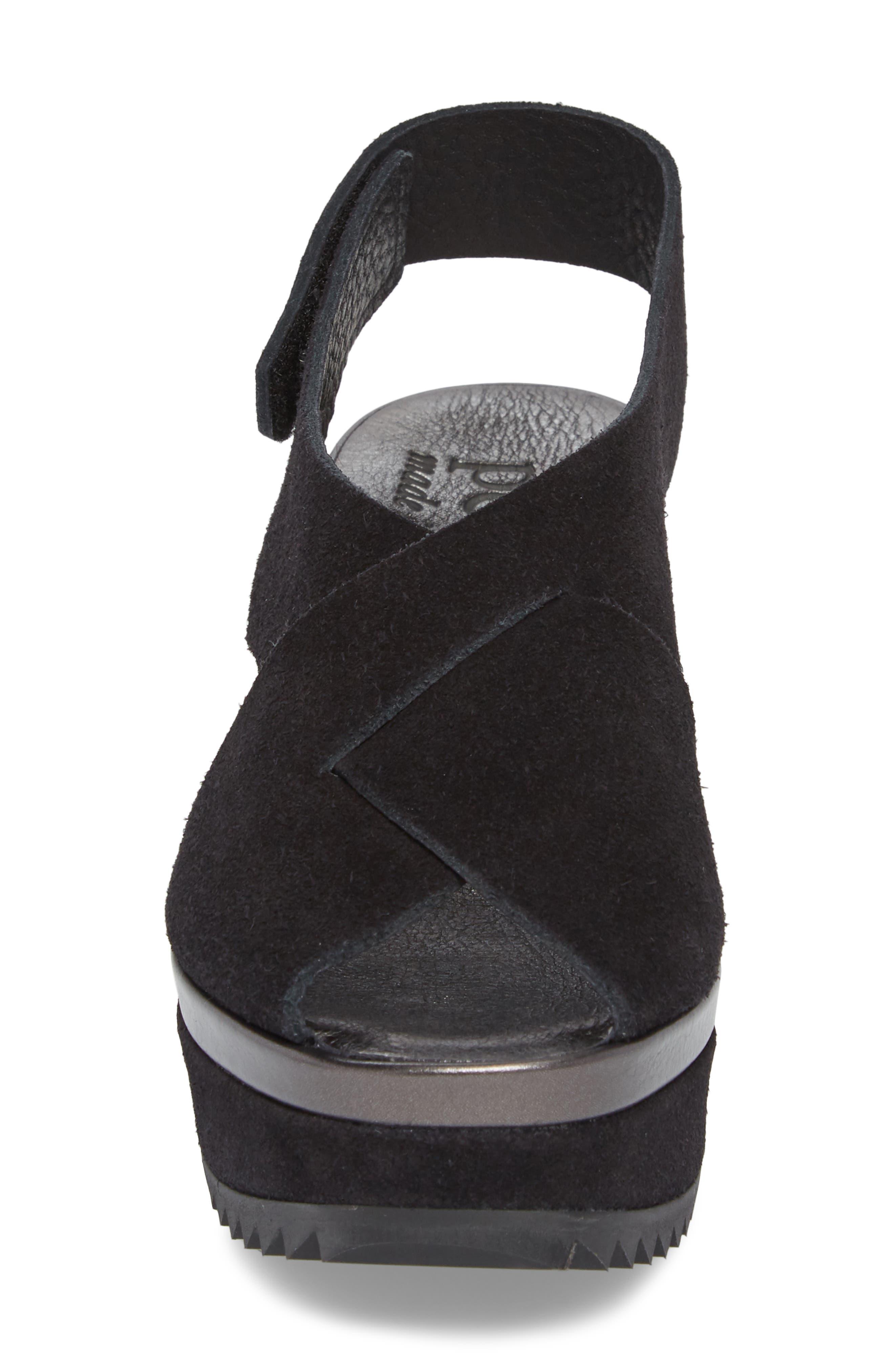 Fayre Cross Strap Wedge Sandal,                             Alternate thumbnail 4, color,                             BLACK