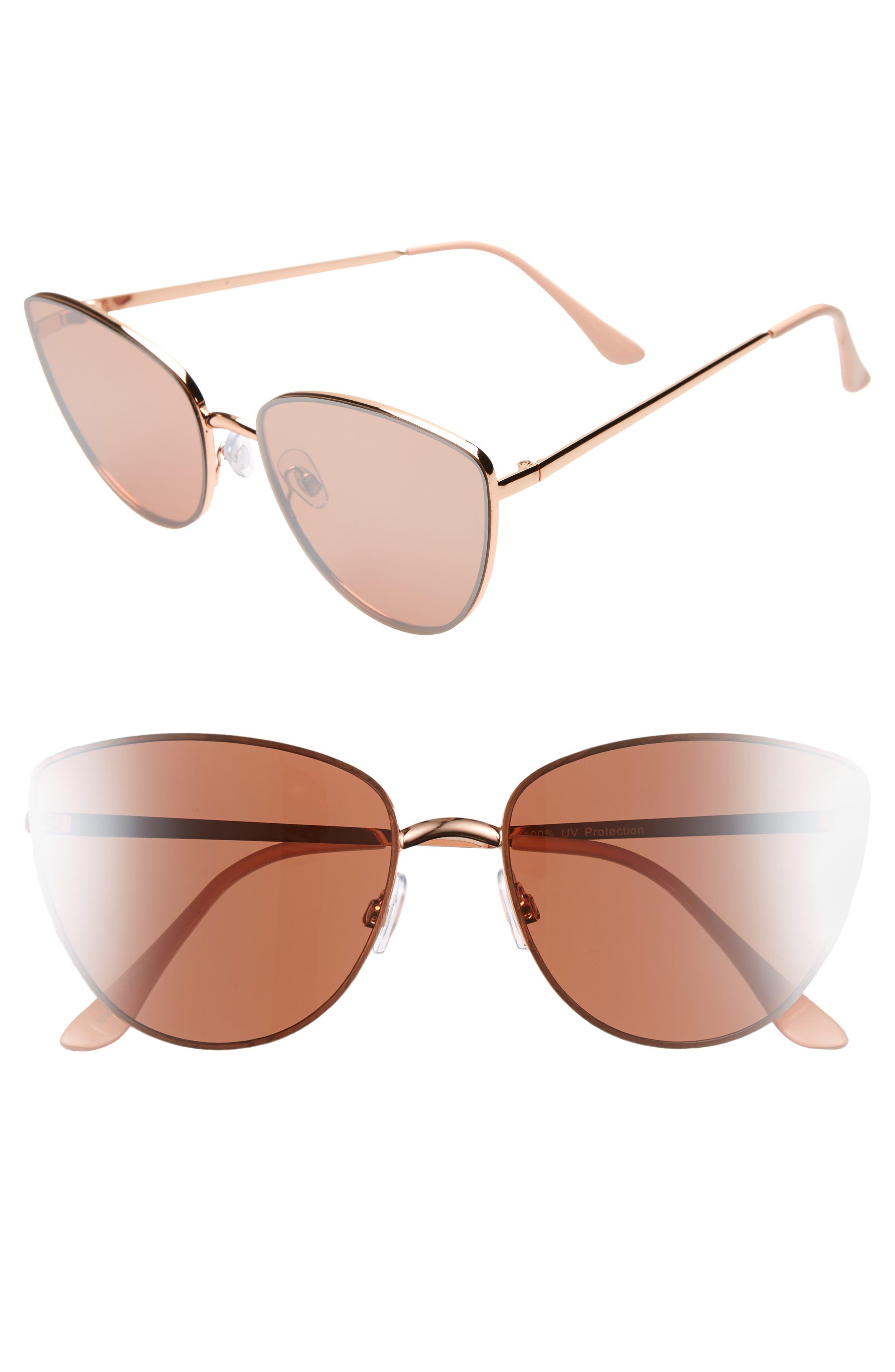 Rimless Cat Eye Sunglasses, Main, color, ROSE GOLD
