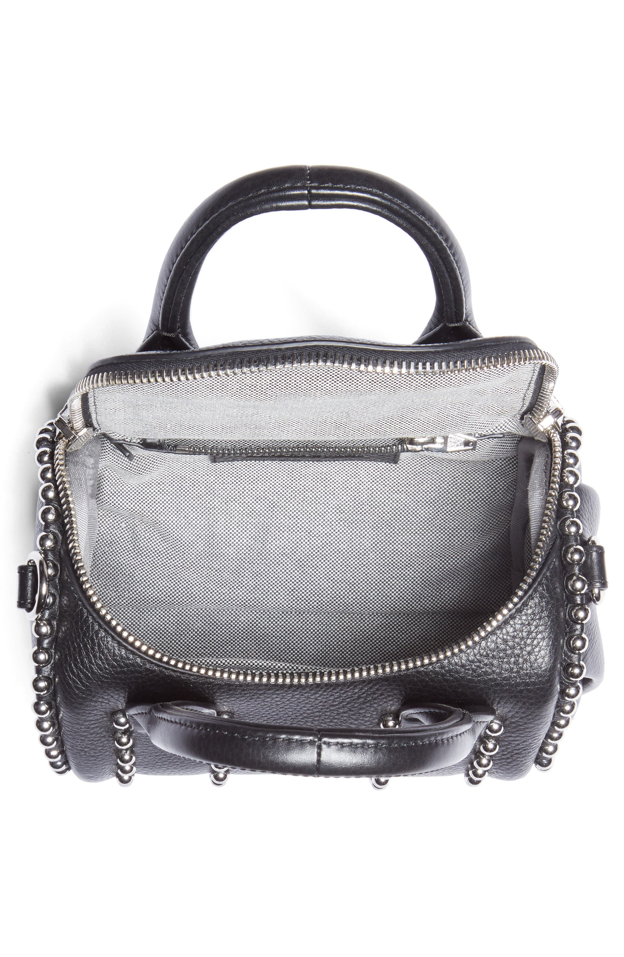 Mini Rockie Studded Leather Crossbody Satchel,                             Alternate thumbnail 4, color,                             BLACK