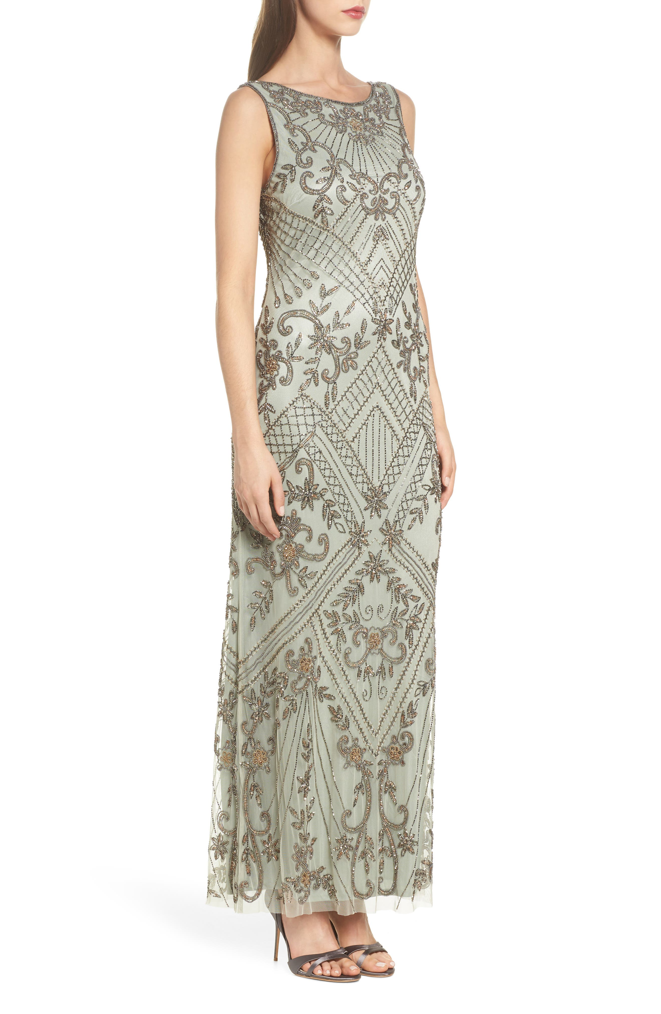 Embellished Mesh Gown,                             Alternate thumbnail 3, color,                             302