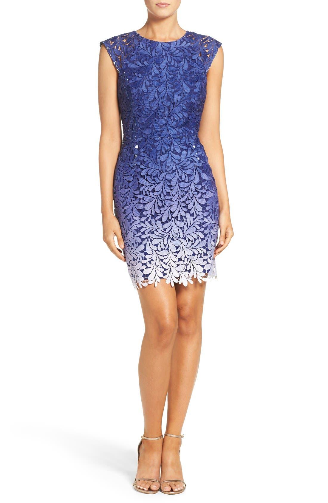 Ombré Lace Sheath Dress,                             Alternate thumbnail 2, color,                             400