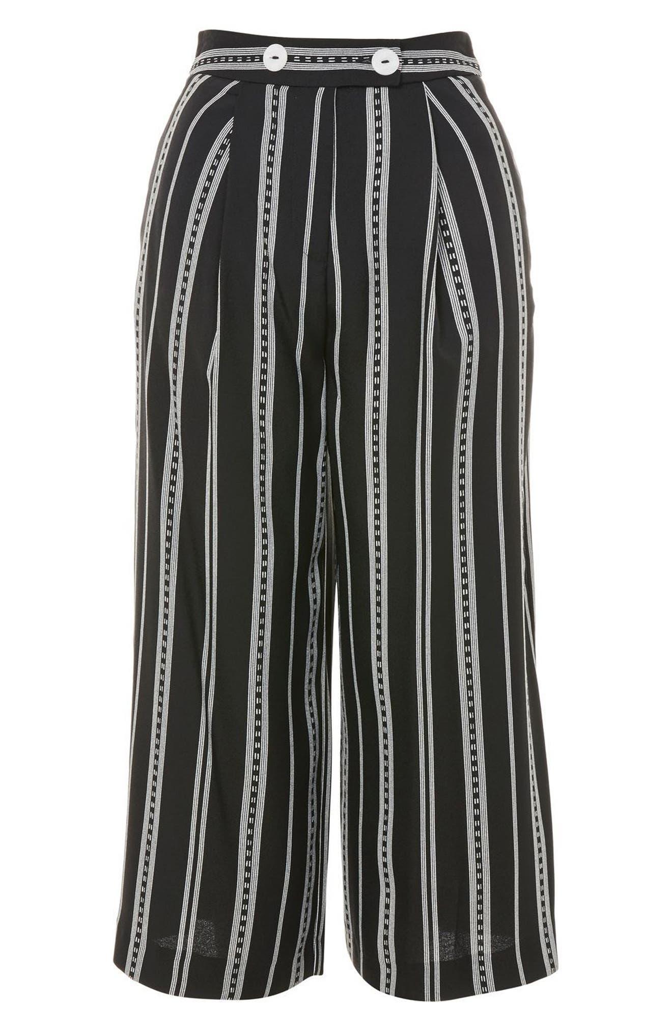 Crop Wide Leg Stripe Trousers,                             Alternate thumbnail 3, color,                             002