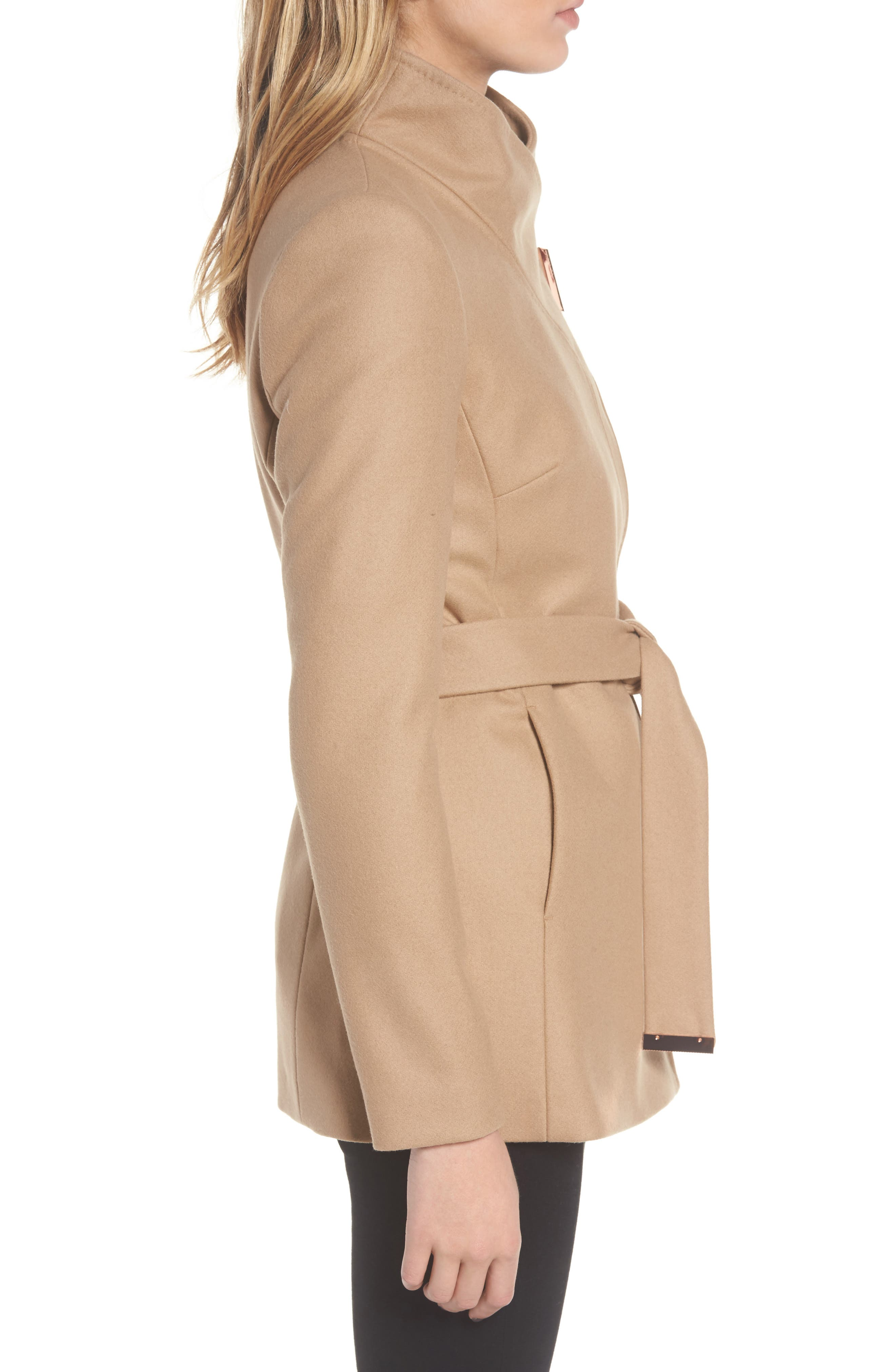 Wool Blend Short Wrap Coat,                             Alternate thumbnail 3, color,                             271