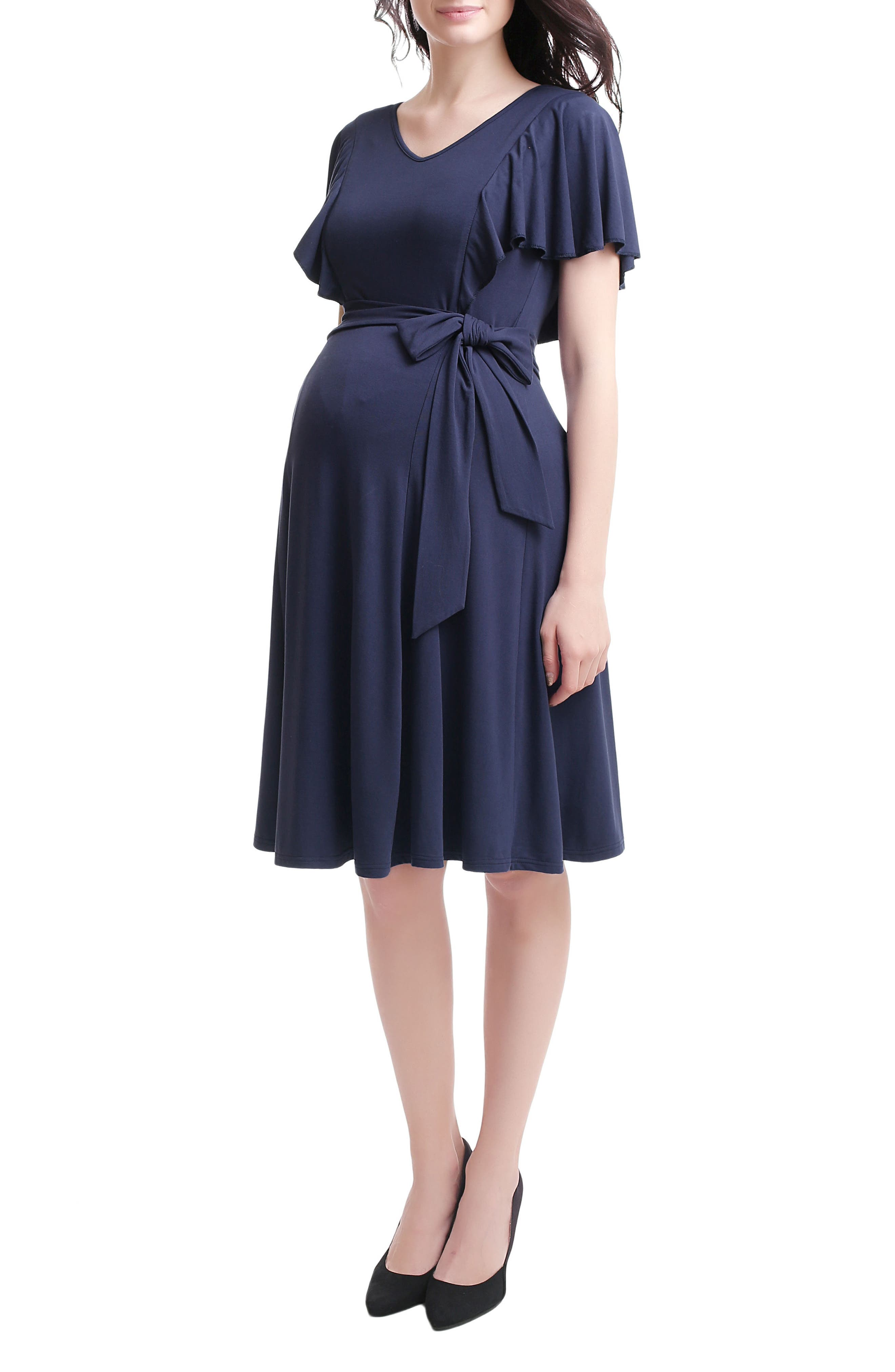 Kimi & Kai Rhea Tie Maternity/Nursing Skater Dress,                             Alternate thumbnail 3, color,                             NAVY