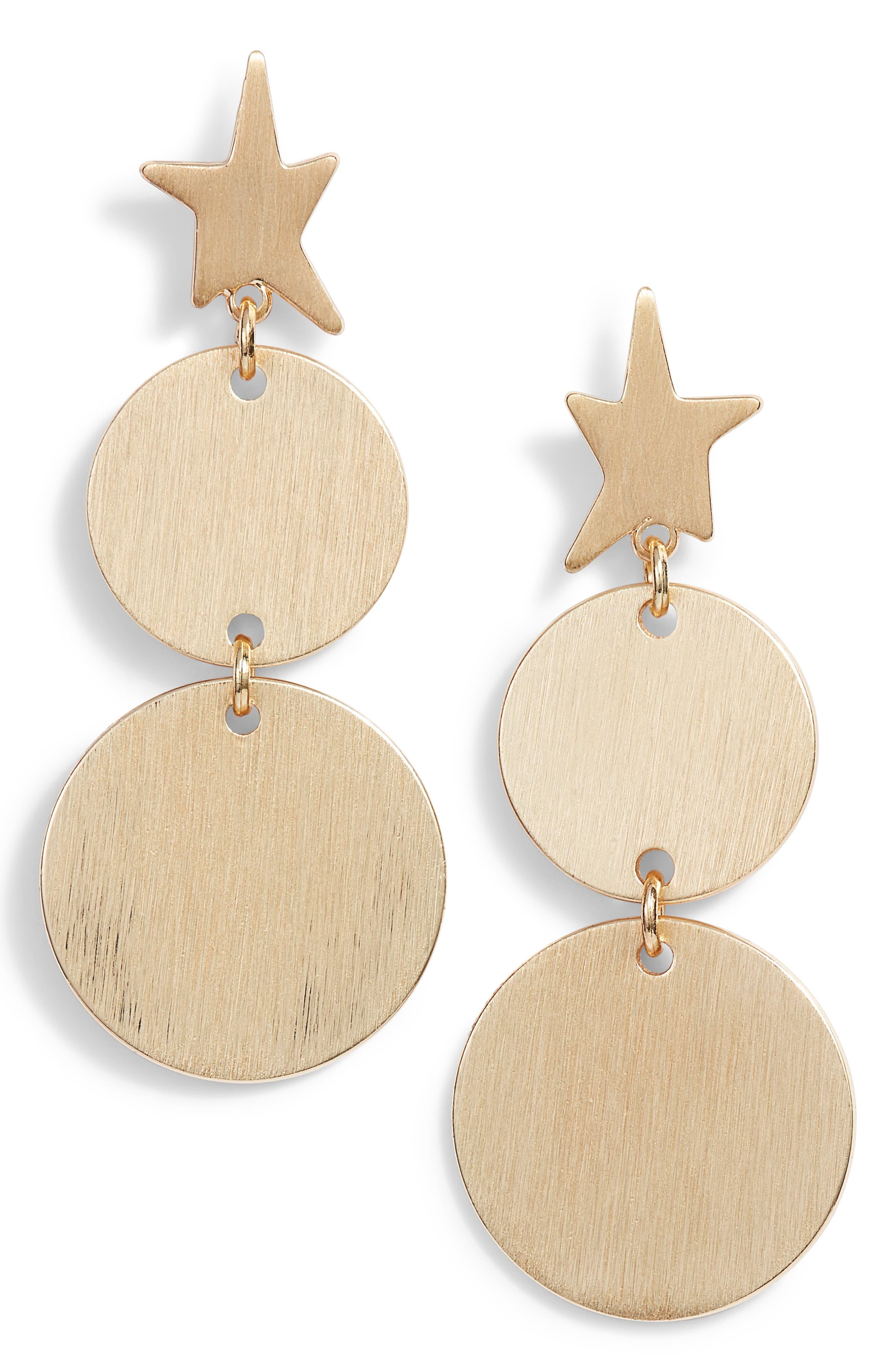 Star Girl Drama Medallion Drop Earrings,                         Main,                         color, 710