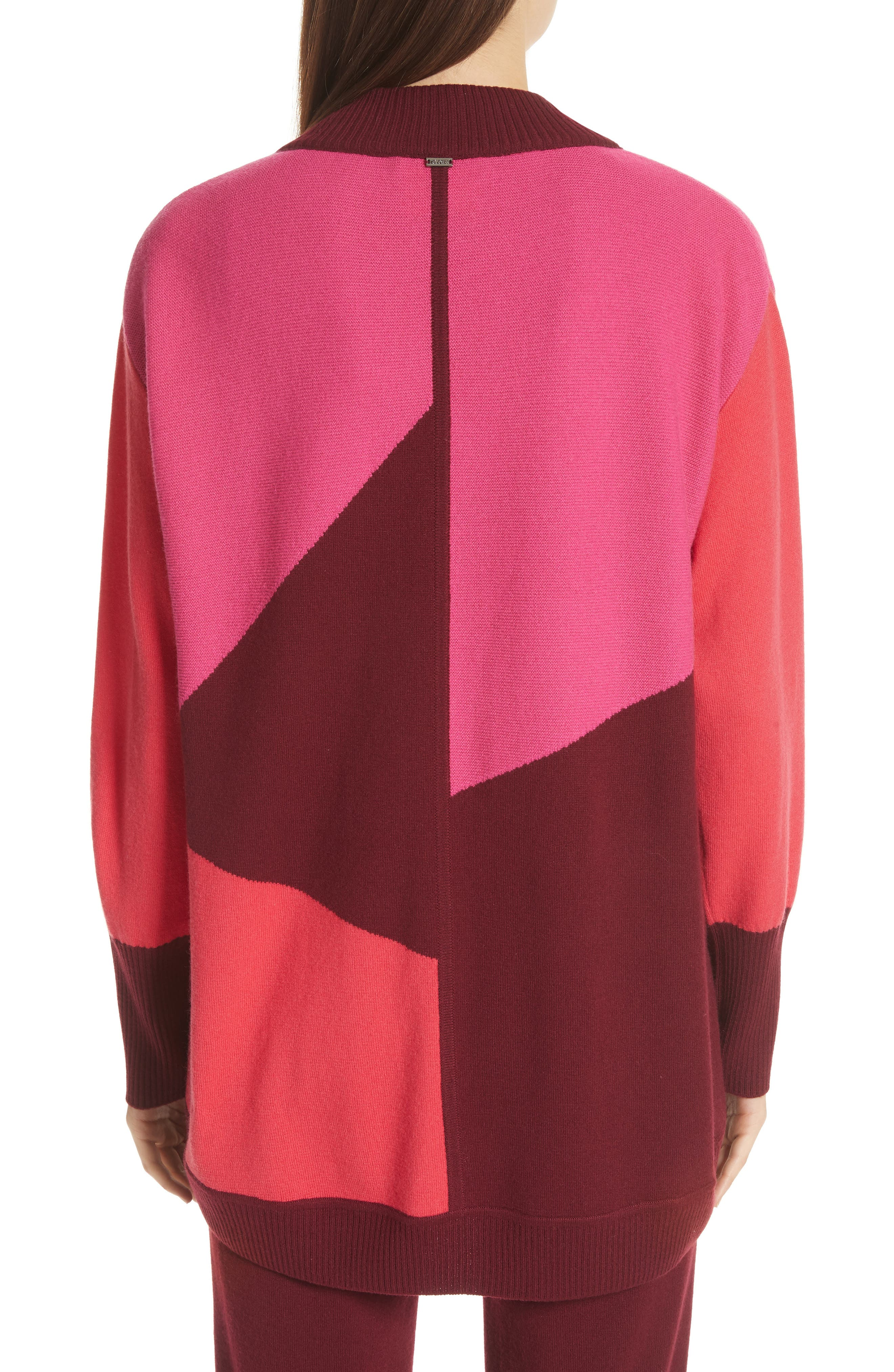 ST. JOHN COLLECTION,                             Colorblock Intarsia Knit Cardigan,                             Alternate thumbnail 2, color,                             650