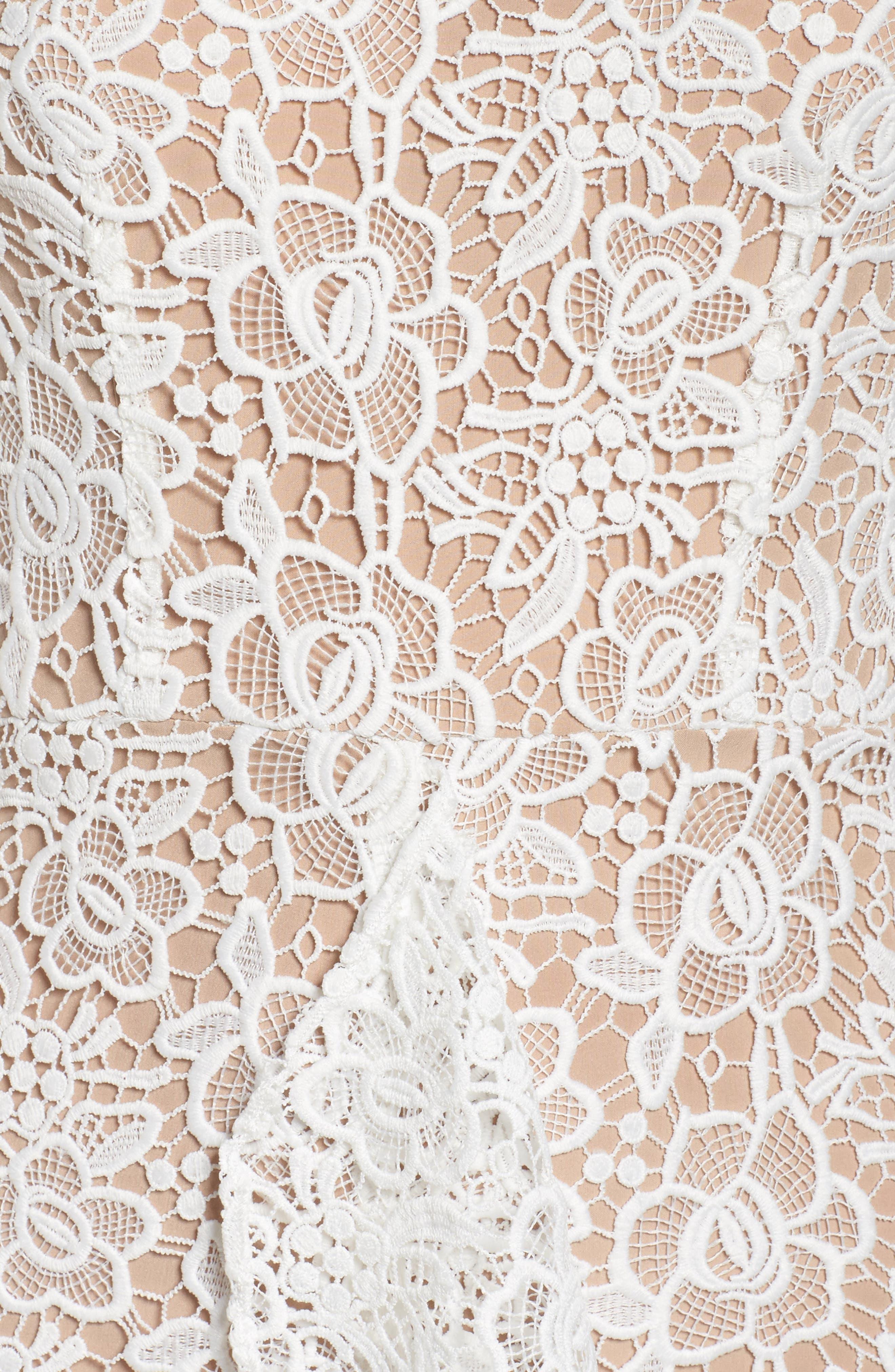 Ruffle Lace Midi Dress,                             Alternate thumbnail 5, color,                             100