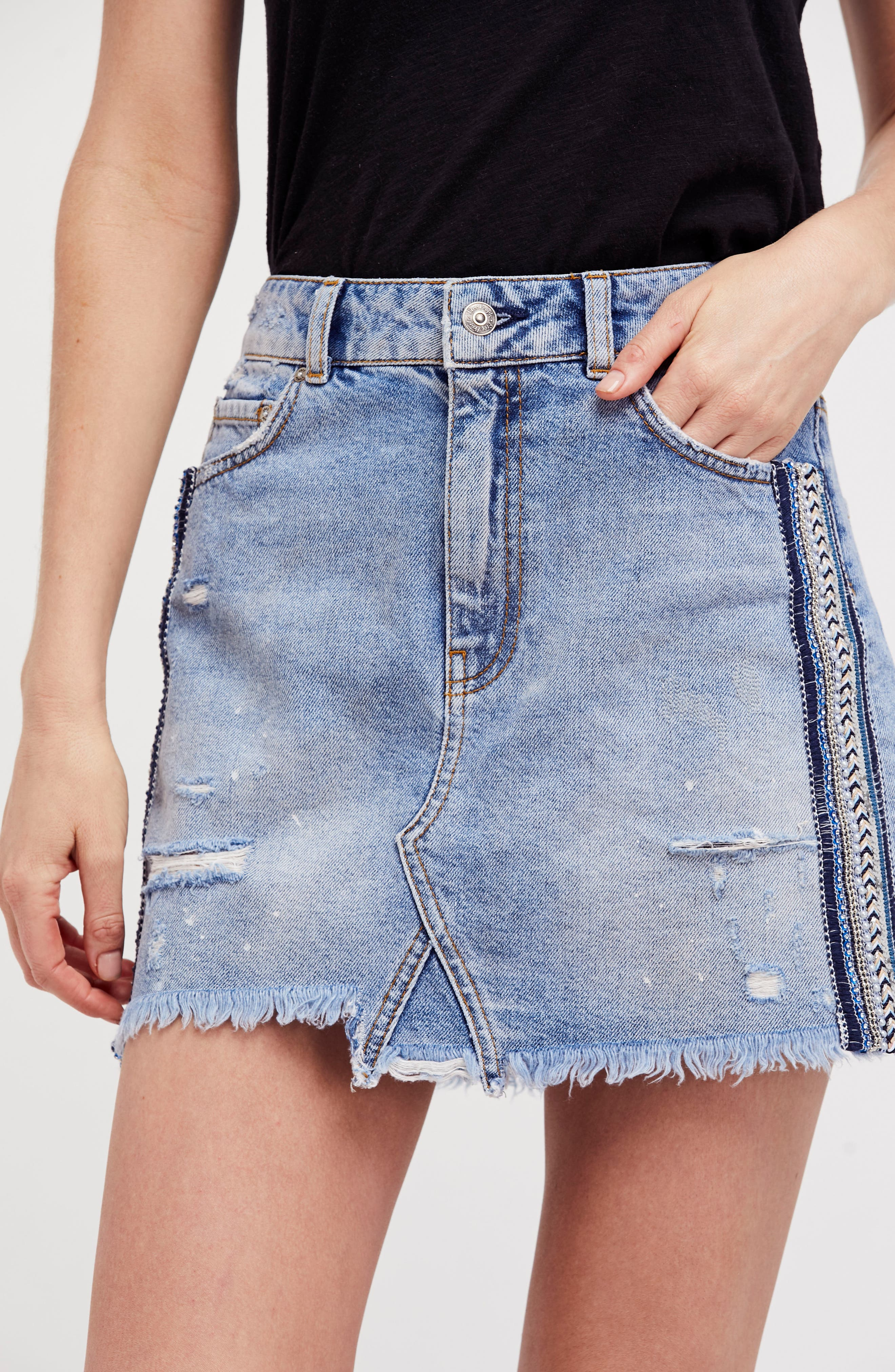 FREE PEOPLE,                             Side Stripe Embellished Miniskirt,                             Alternate thumbnail 7, color,                             400