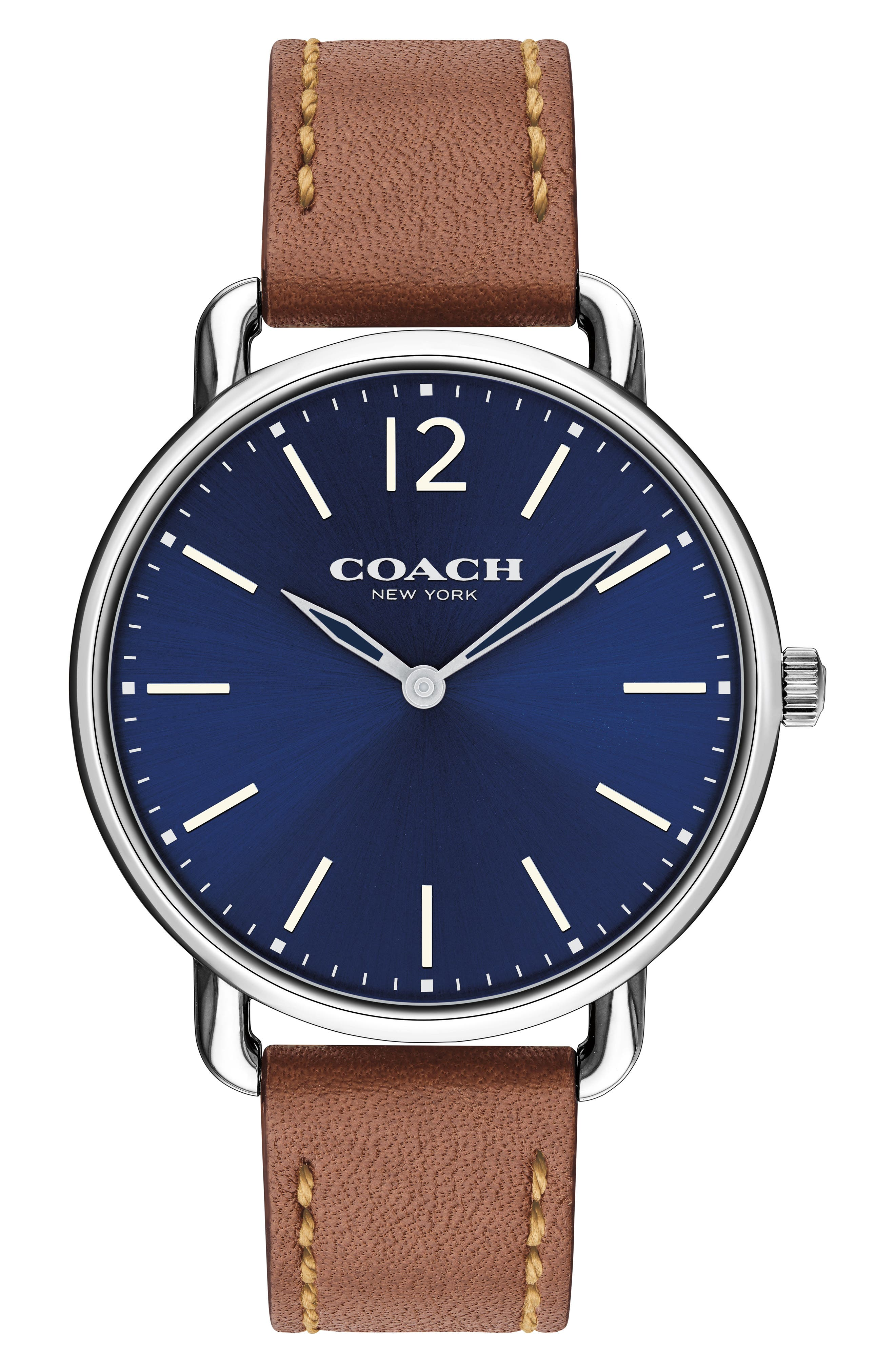 Delancey Leather Strap Watch, 40mm,                             Main thumbnail 1, color,                             SADDLE/ BLUE/ SILVER
