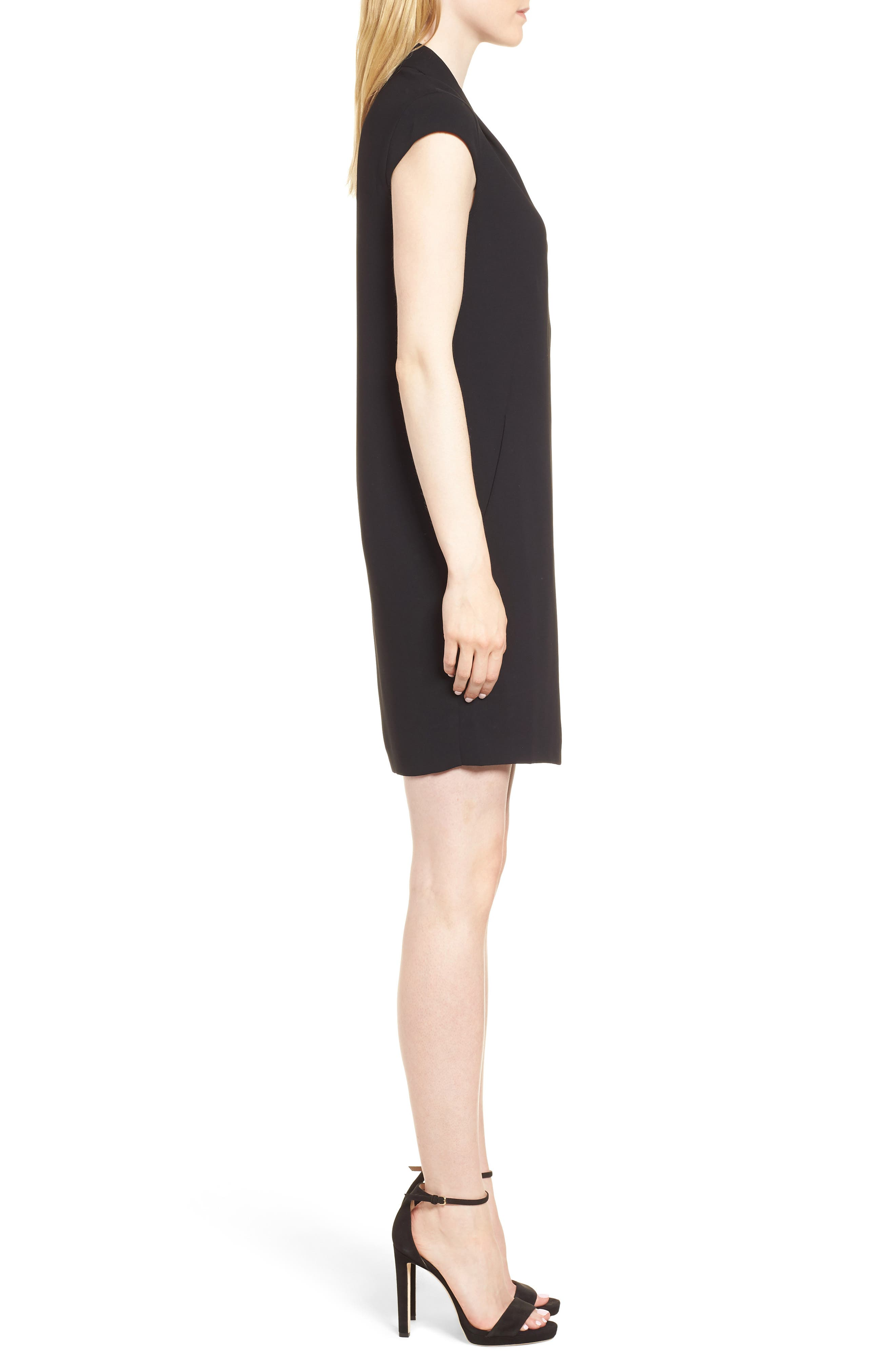 Paige V-Neck Crepe Shift Dress,                             Alternate thumbnail 3, color,                             001