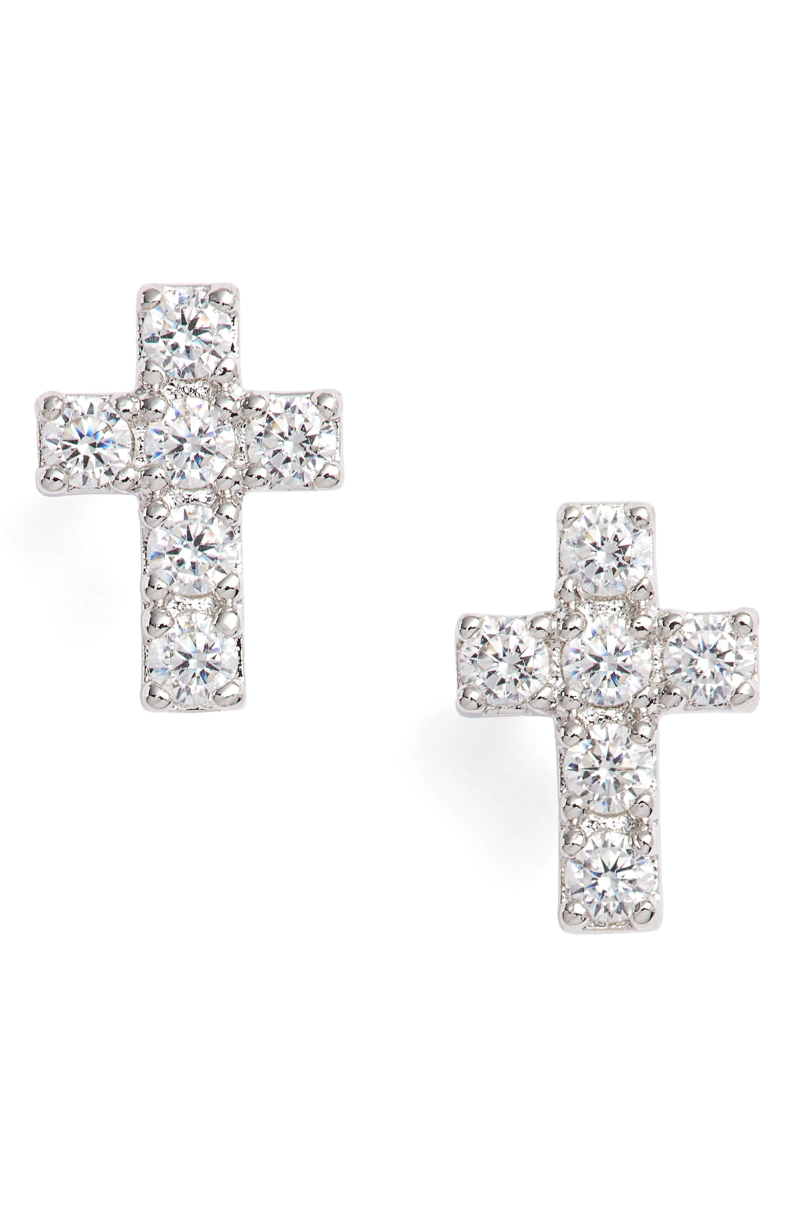 Reminisce Cubic Zirconia Cross Stud Earrings,                         Main,                         color,