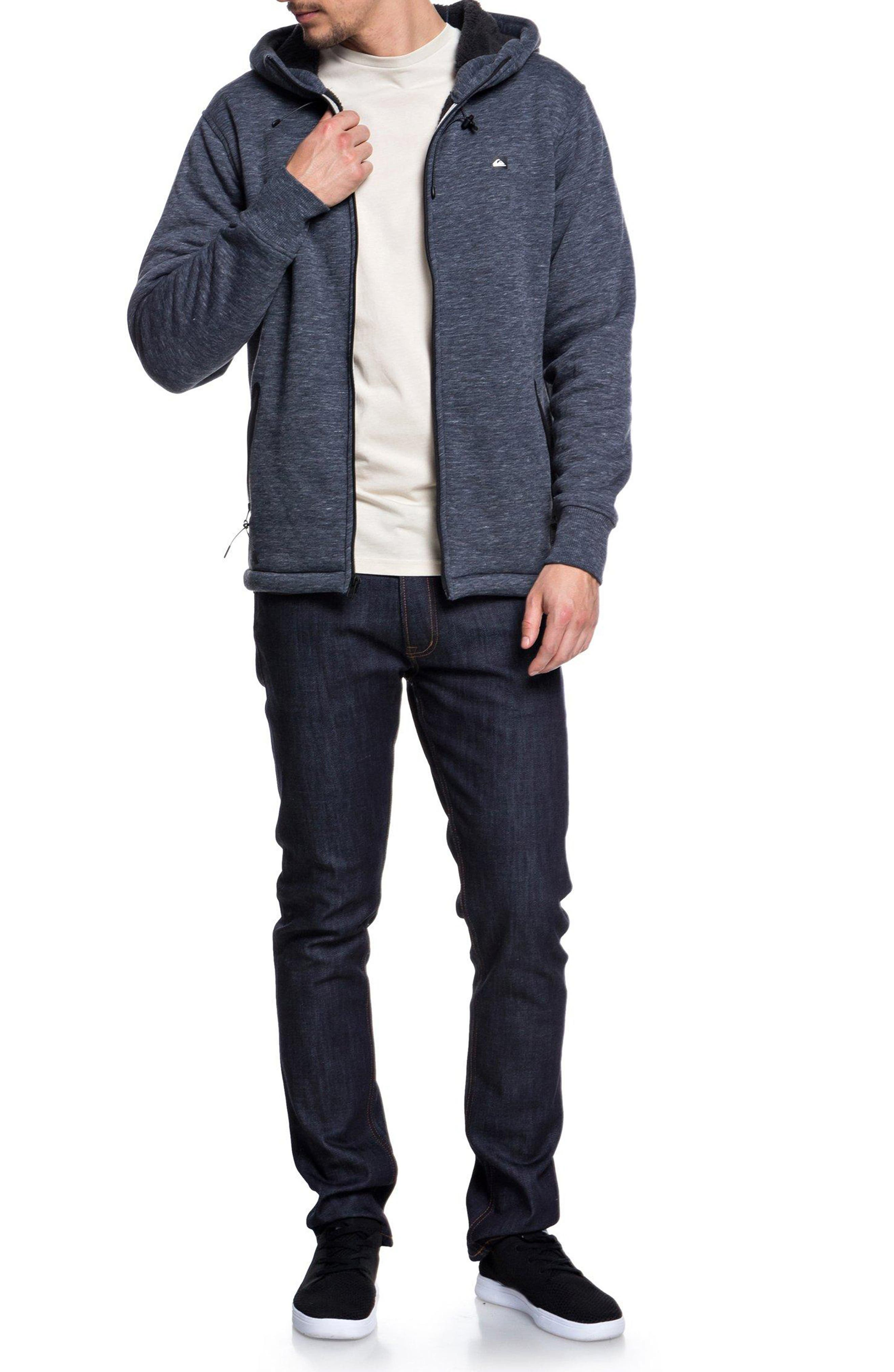 Kurow Fleece Hooded Jacket,                             Alternate thumbnail 3, color,                             BLUE NIGHTS HEATHER
