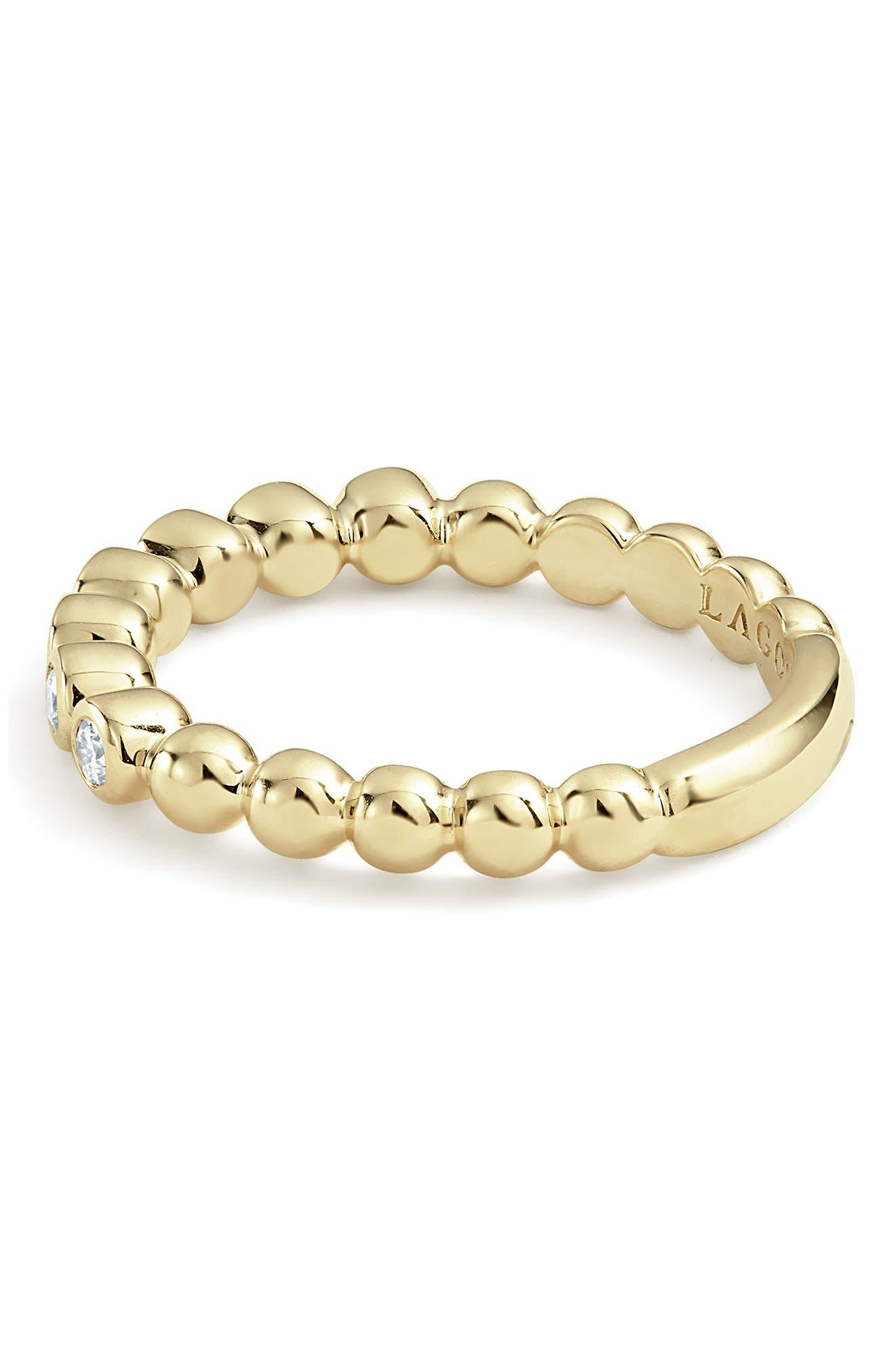 Covet Stone Caviar Stack Ring,                             Alternate thumbnail 4, color,                             GOLD/ DIAMOND