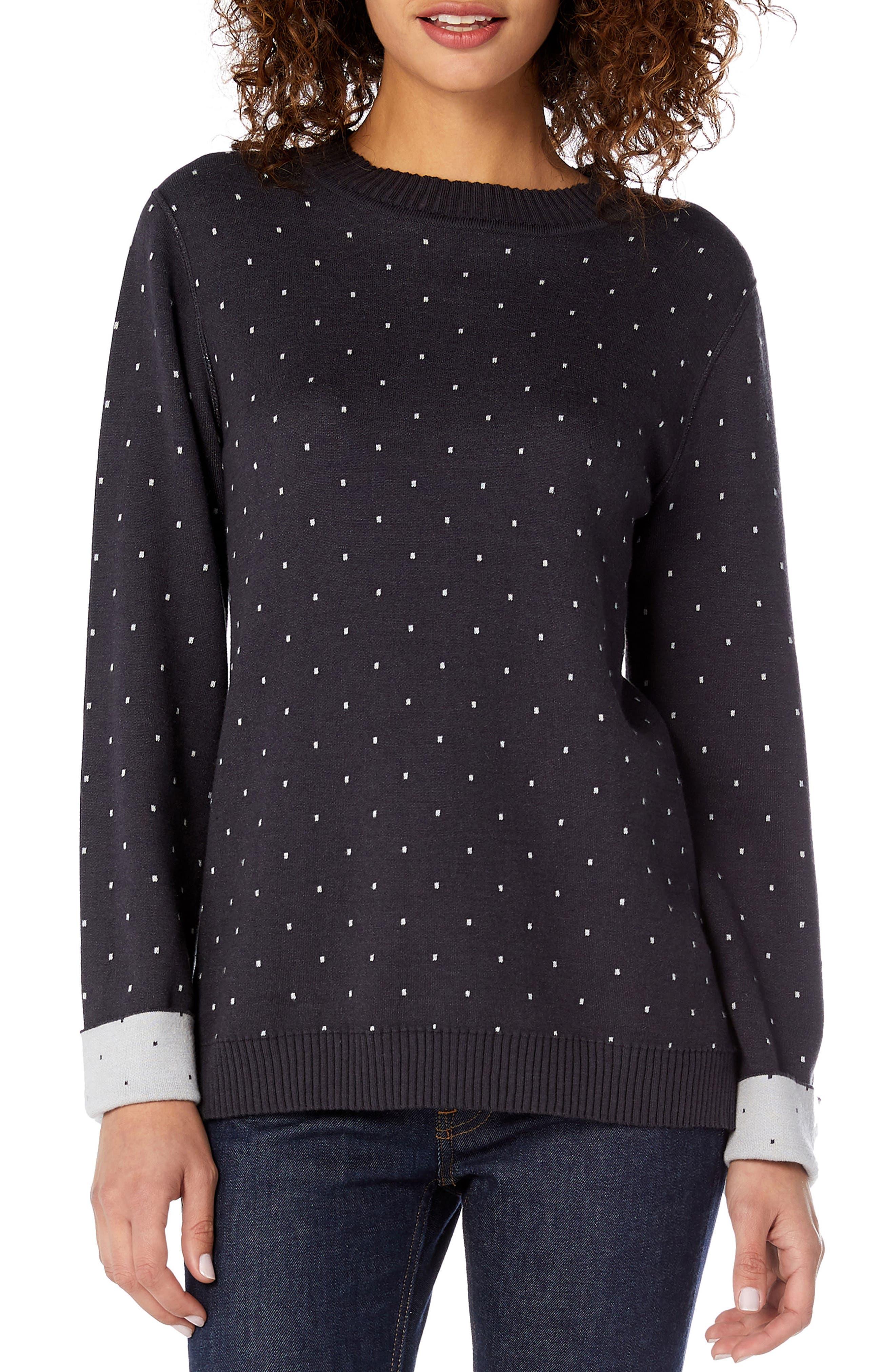 MICHAEL STARS Reversible Dot Cotton Blend Sweater in Black/ Chalk
