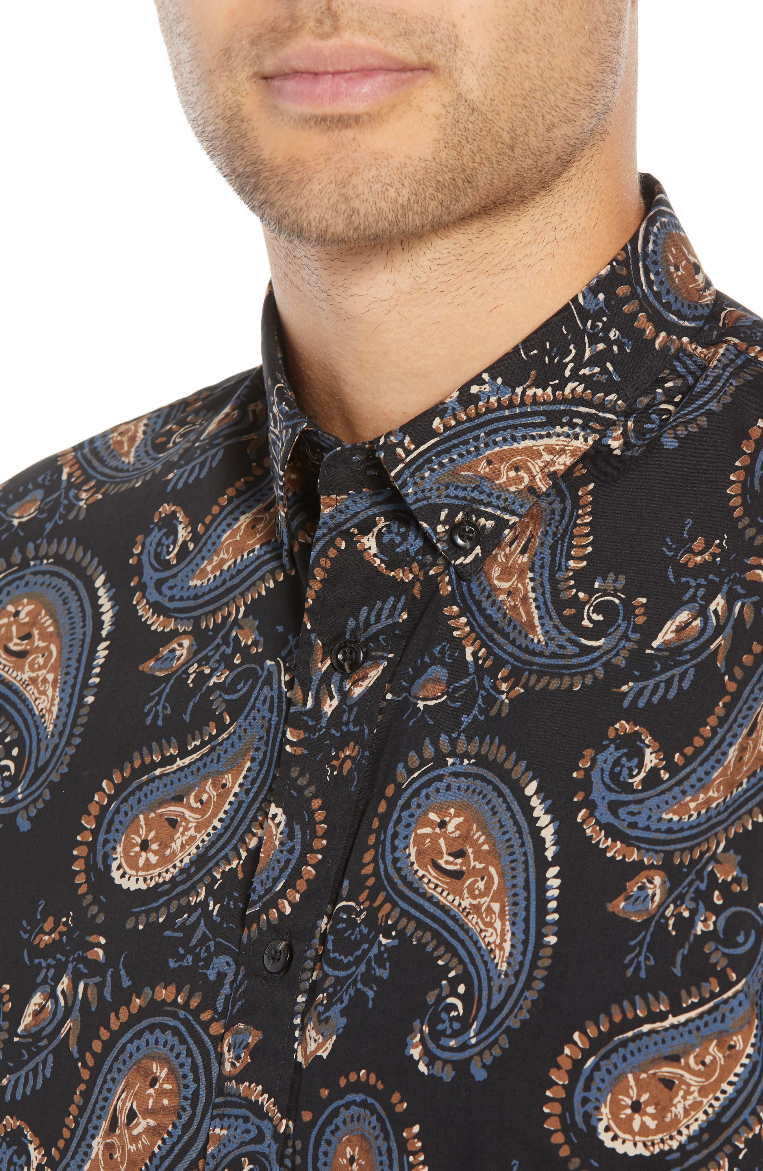 Regular Fit Paisley Sport Shirt,                             Alternate thumbnail 2, color,                             001