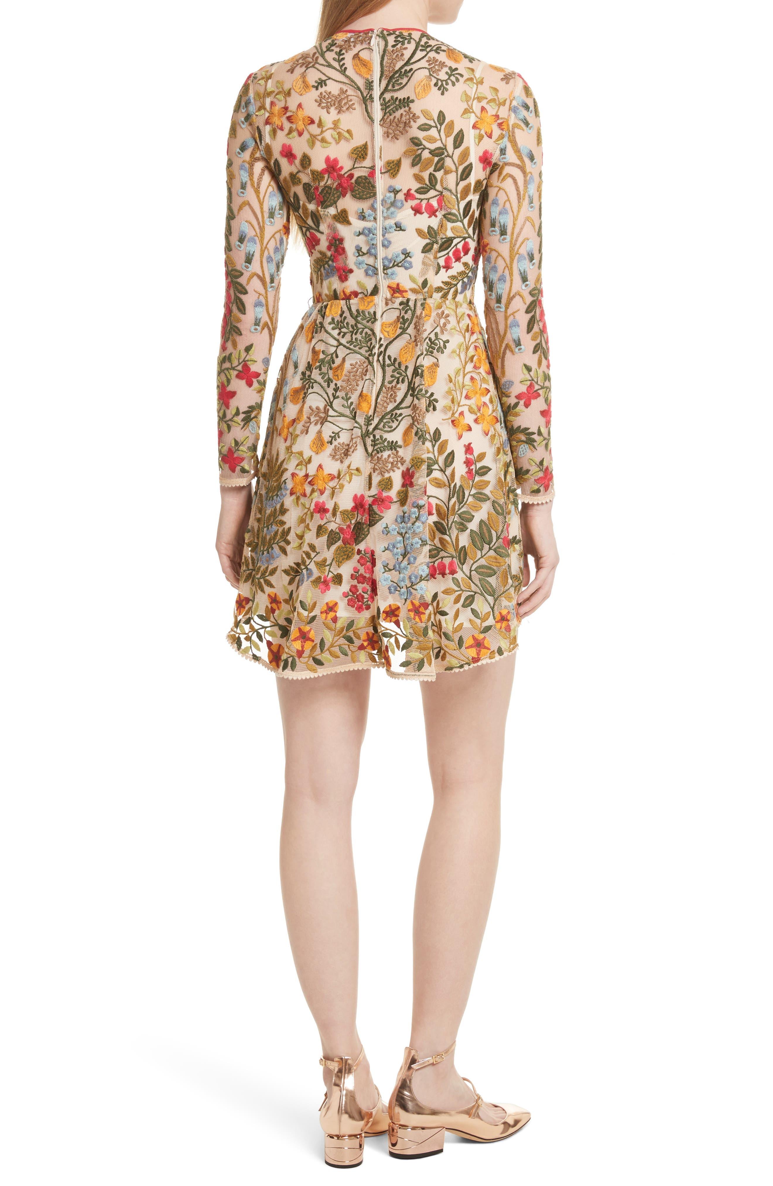 Floral Vine Embroidered Tulle Dress,                             Alternate thumbnail 2, color,