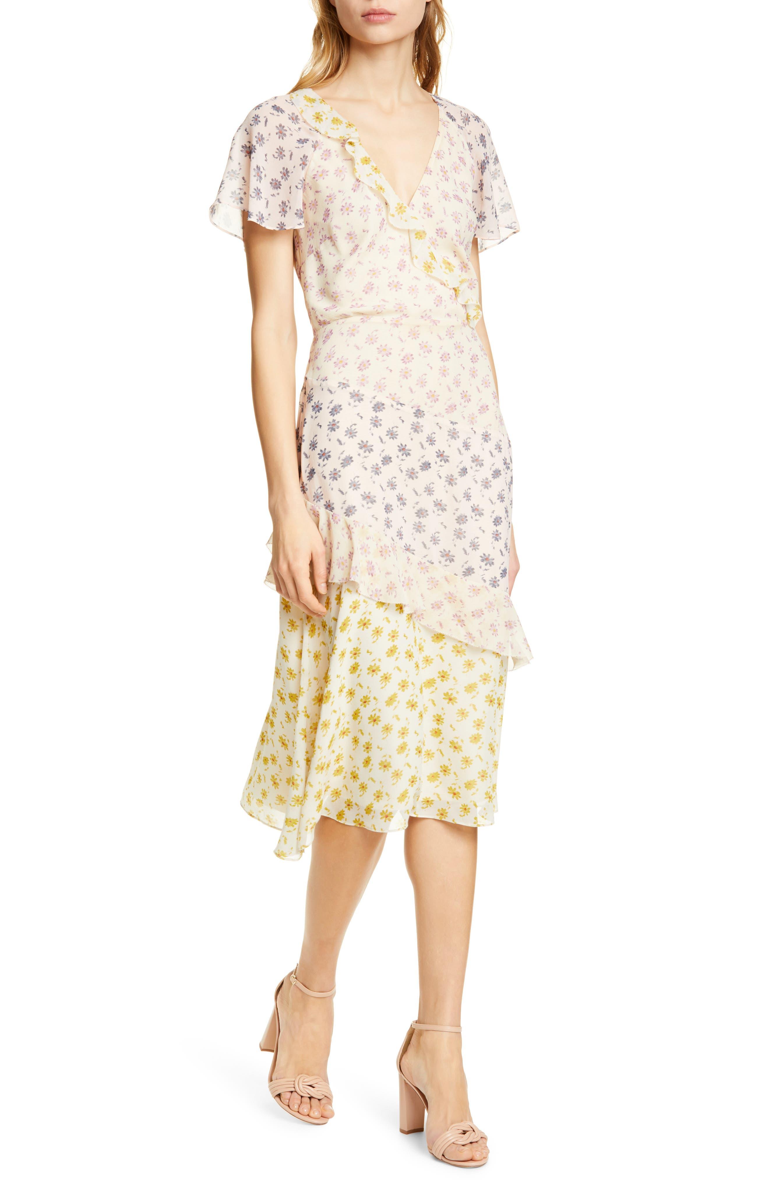 Joie Orita B Floral Silk Midi Dress, Yellow