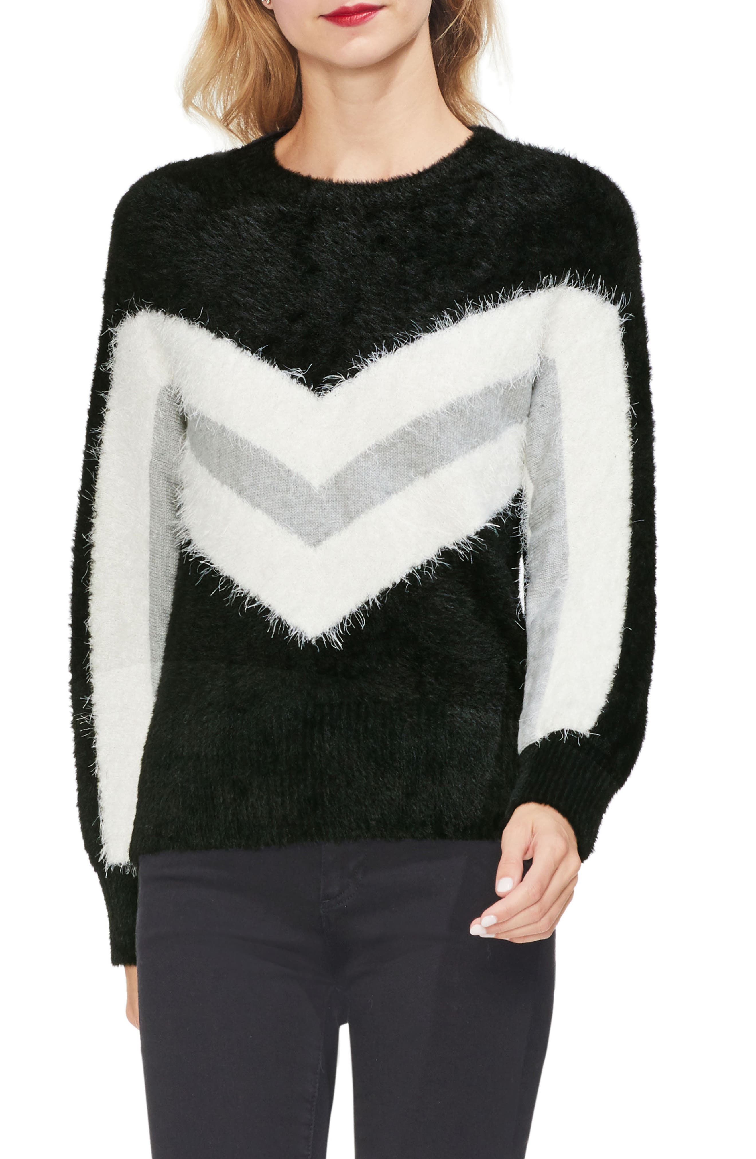 Tinsel Chevron Sweater,                         Main,                         color, 006