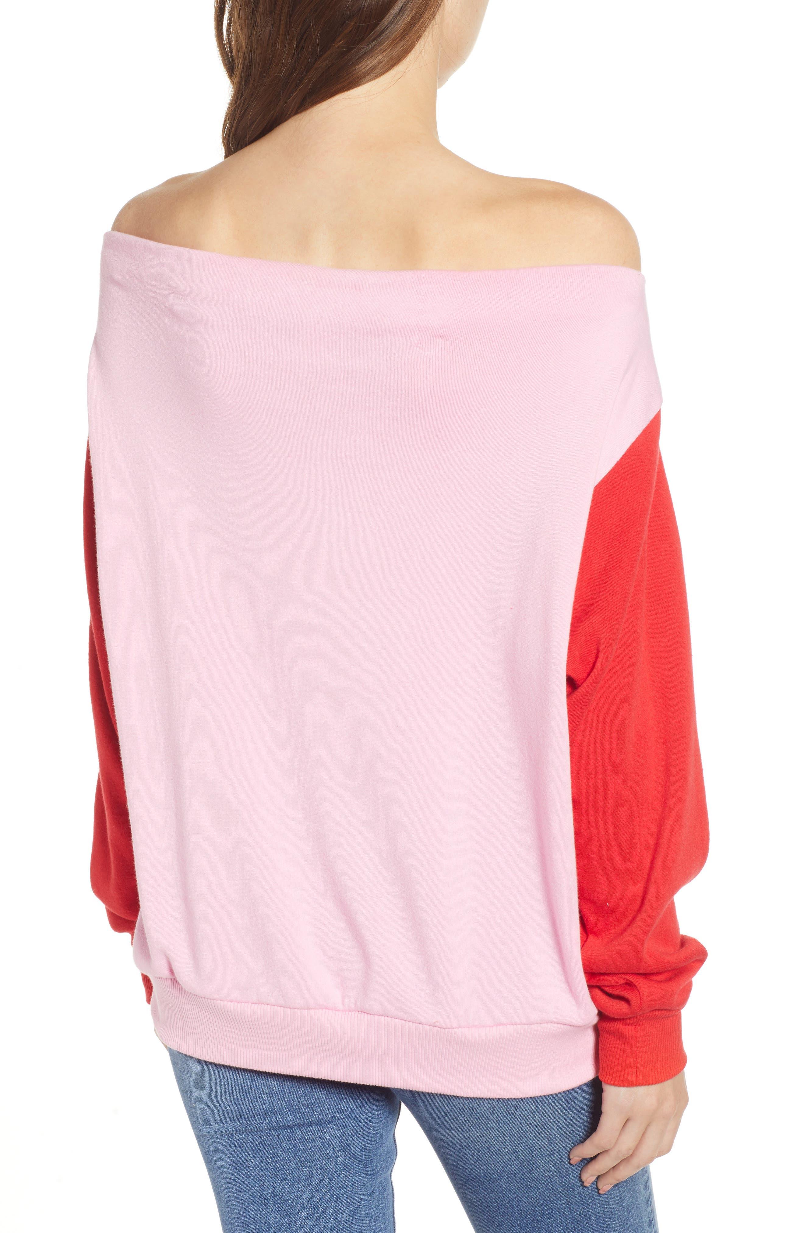 Colorblock Fleece Sweatshirt,                             Alternate thumbnail 2, color,                             PINK PRISM
