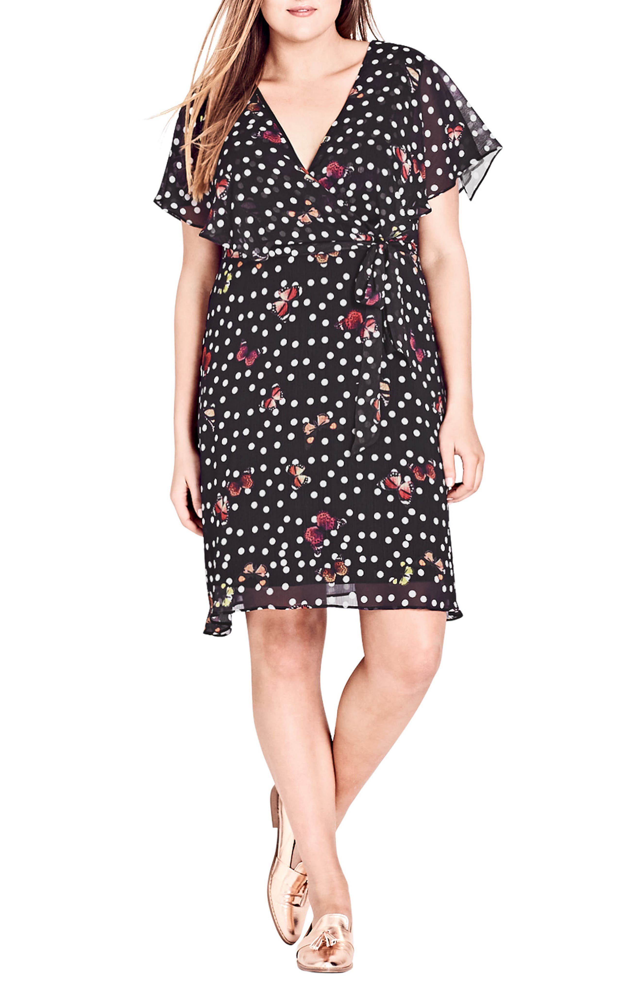 CITY CHIC Butterfly Love Faux Wrap Dress, Main, color, 001