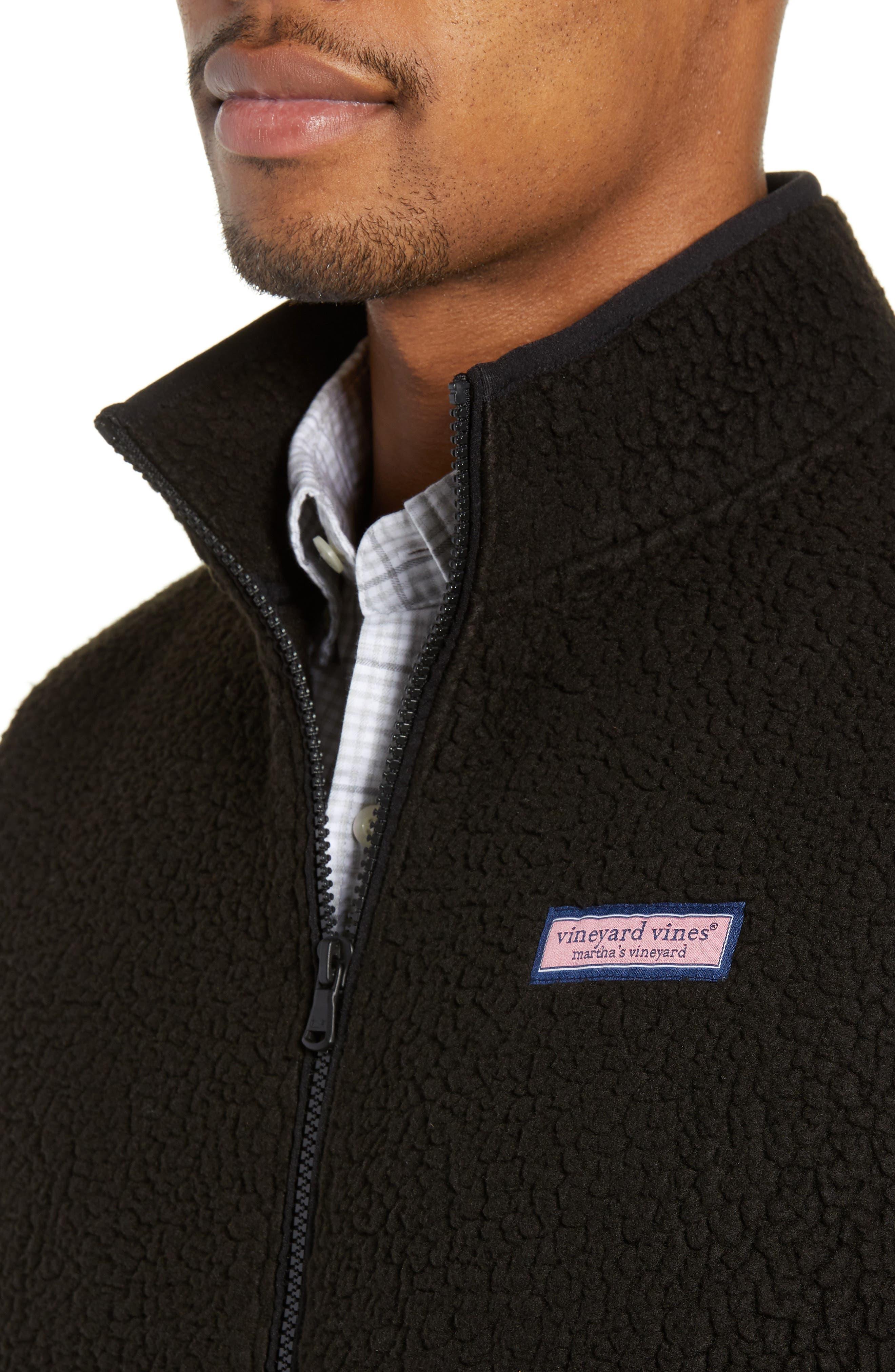Harbor Regular Fit Fleece Vest,                             Alternate thumbnail 4, color,                             JET BLACK
