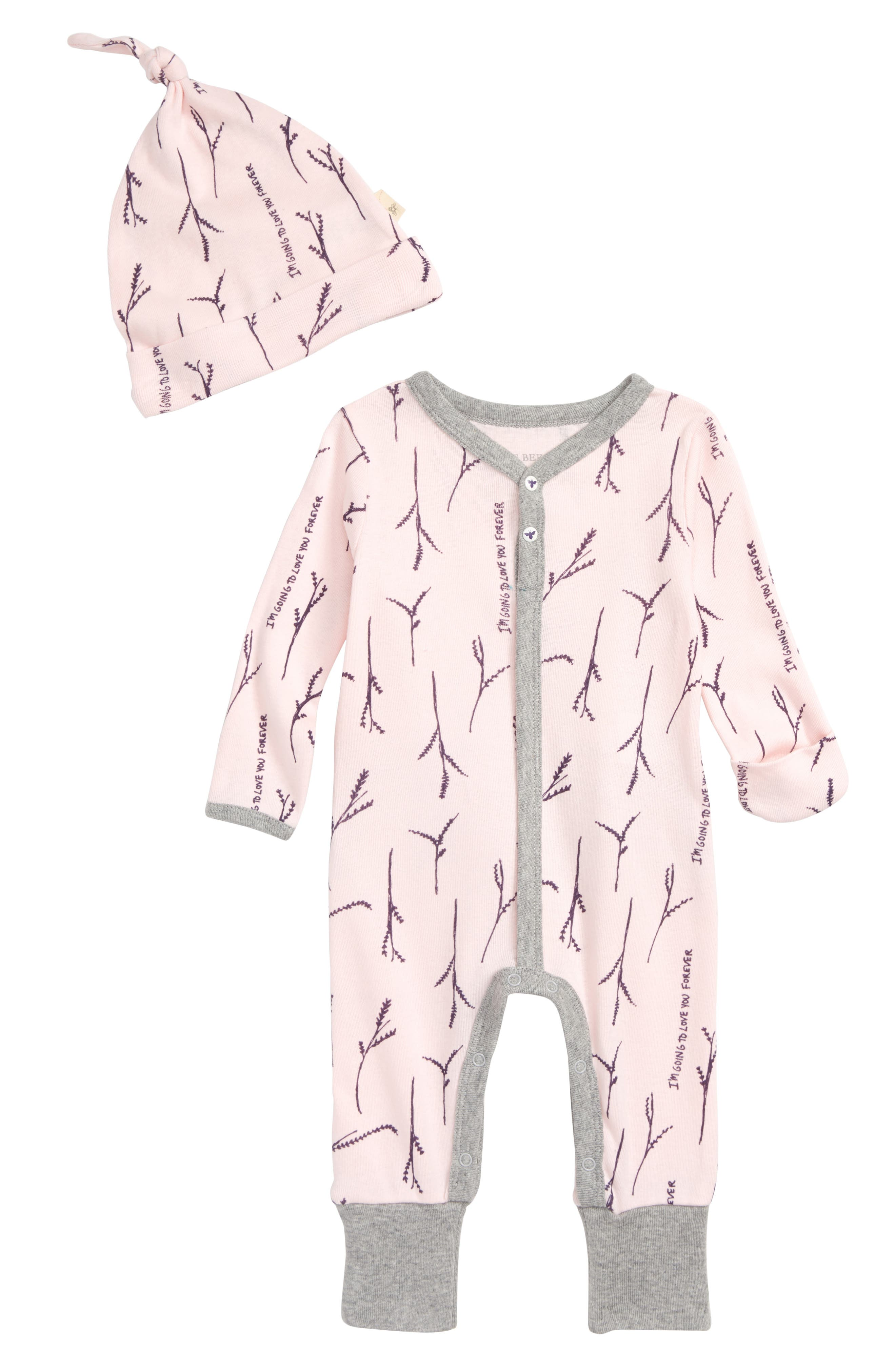 Love You More Ruffle Coverall & Hat Set,                             Main thumbnail 1, color,                             680