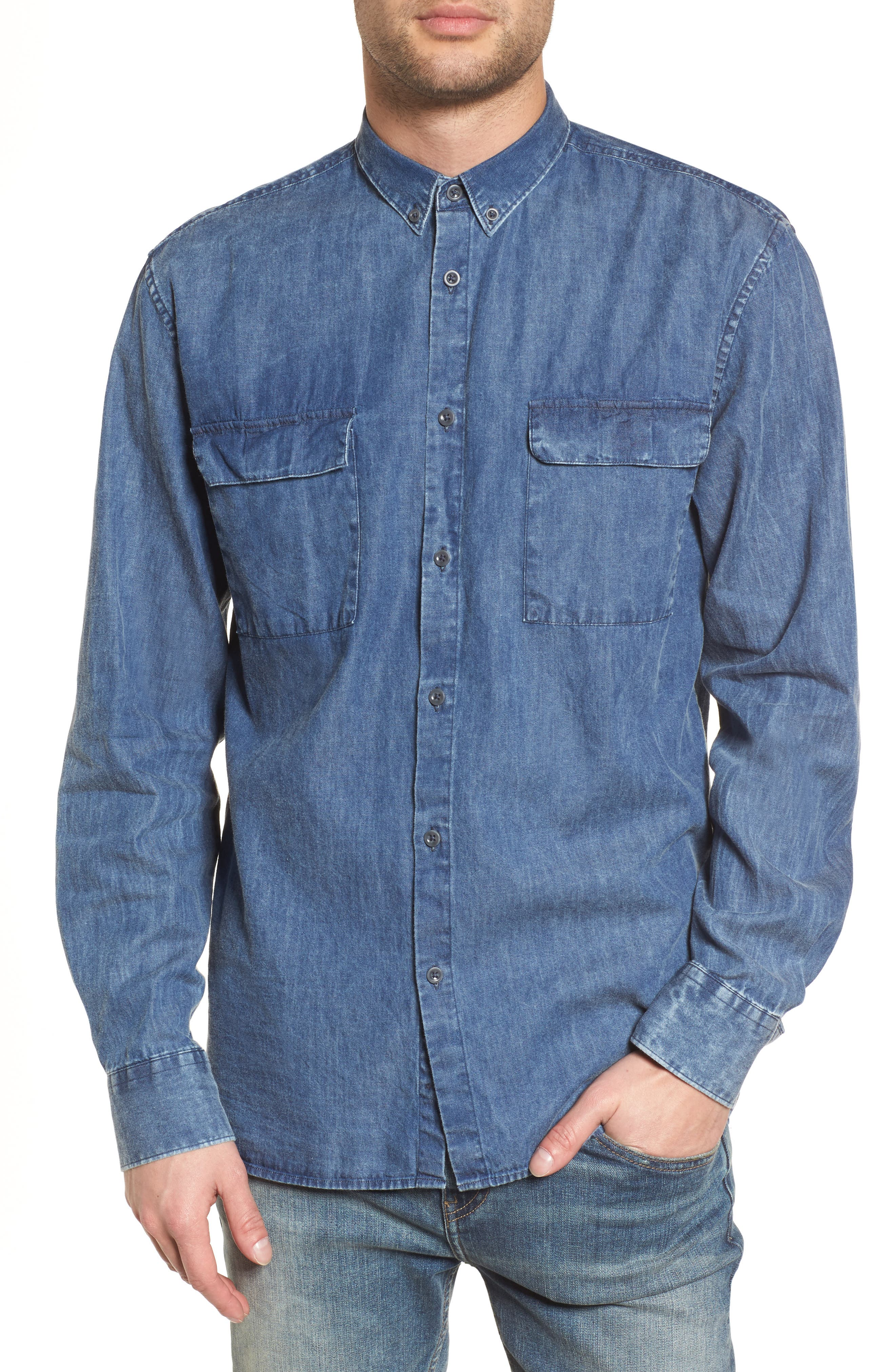 Boxy Denim Shirt,                         Main,                         color, 426