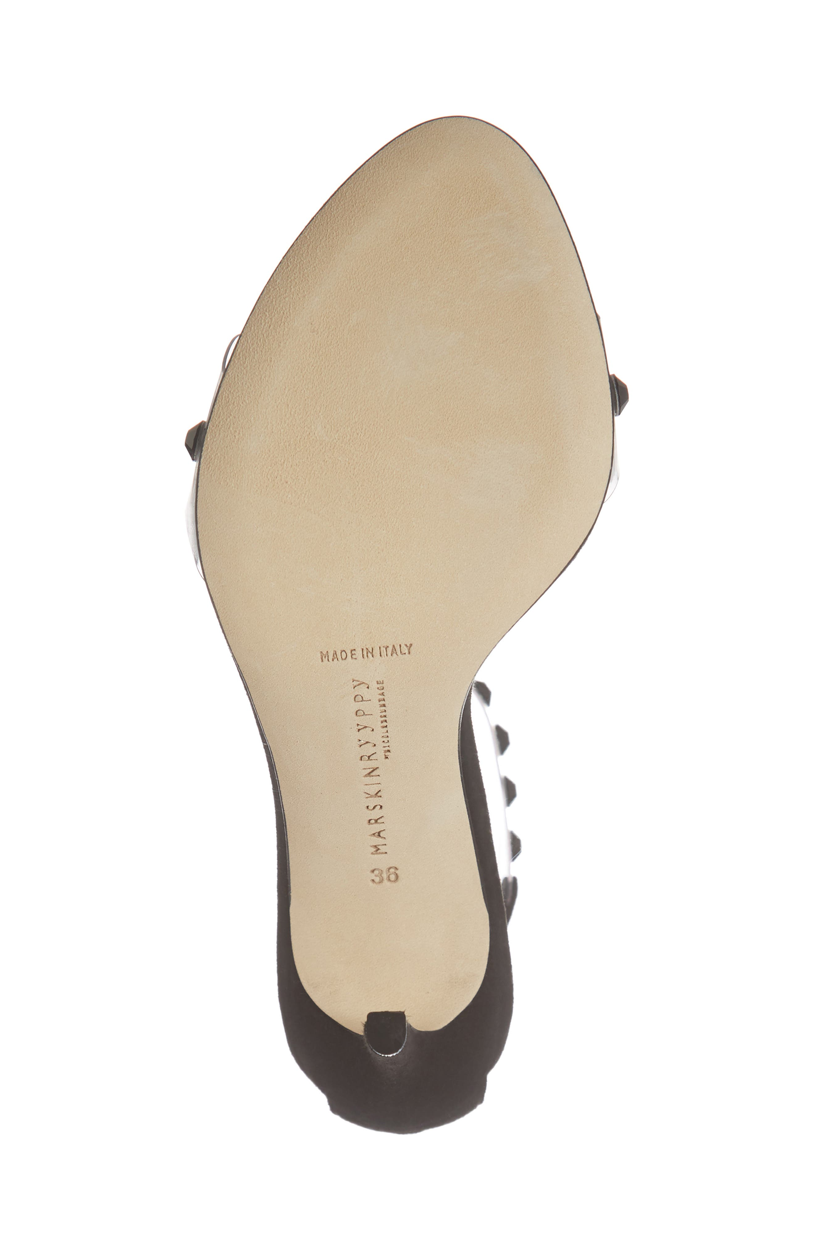 Pauwau Ankle Strap Sandal,                             Alternate thumbnail 6, color,                             BLACK SUEDE PVC GEMSTONES