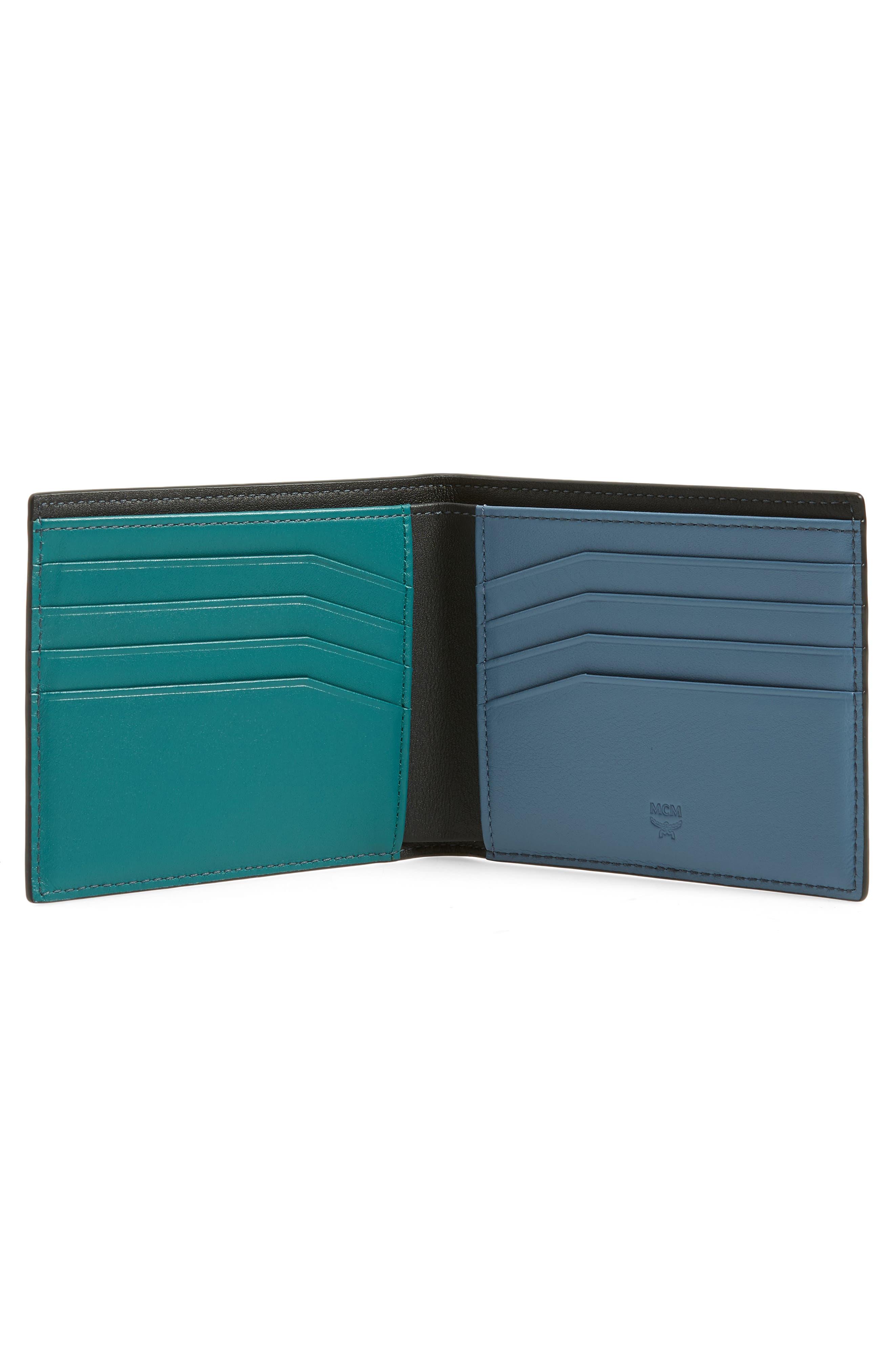 Coburg Logo Stripe Leather Wallet,                             Alternate thumbnail 2, color,                             BLACK