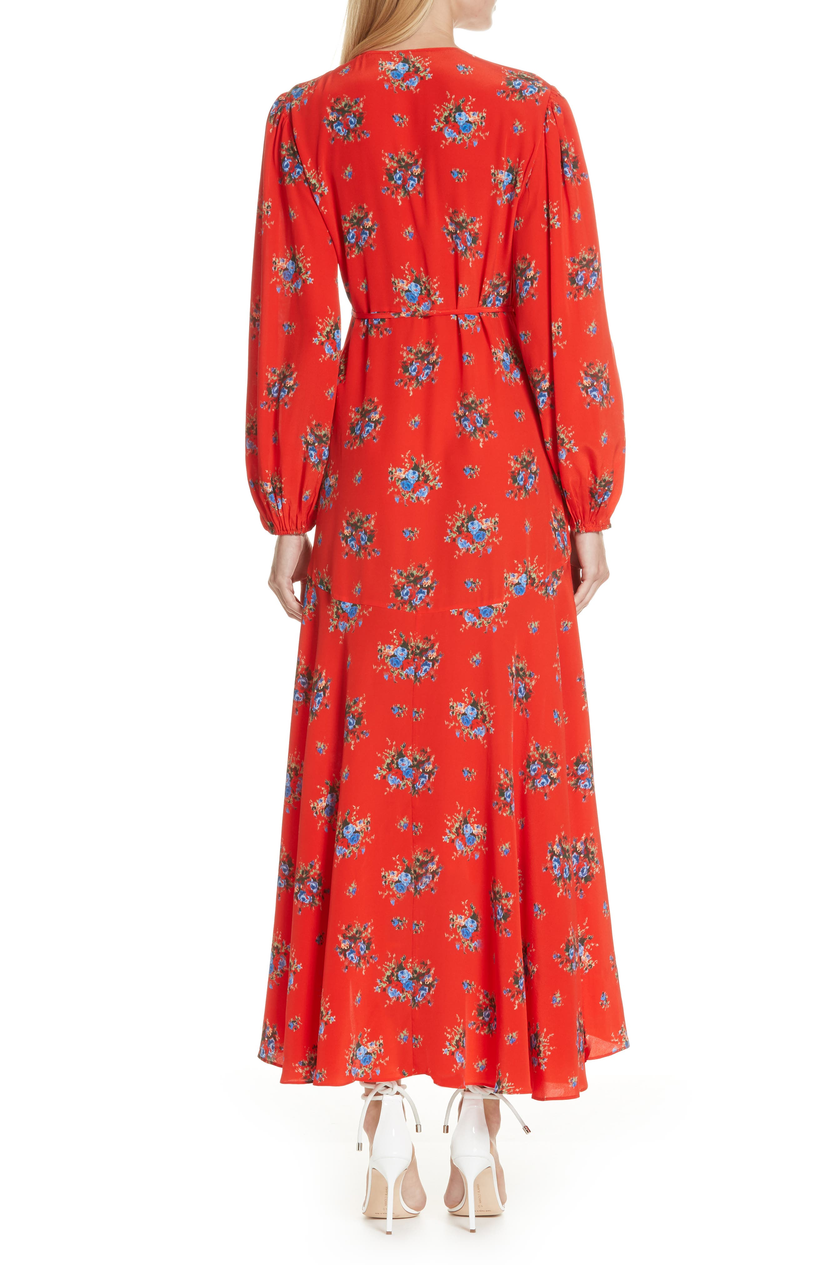 Floral Silk Wrap Dress,                             Alternate thumbnail 2, color,                             FIERY RED