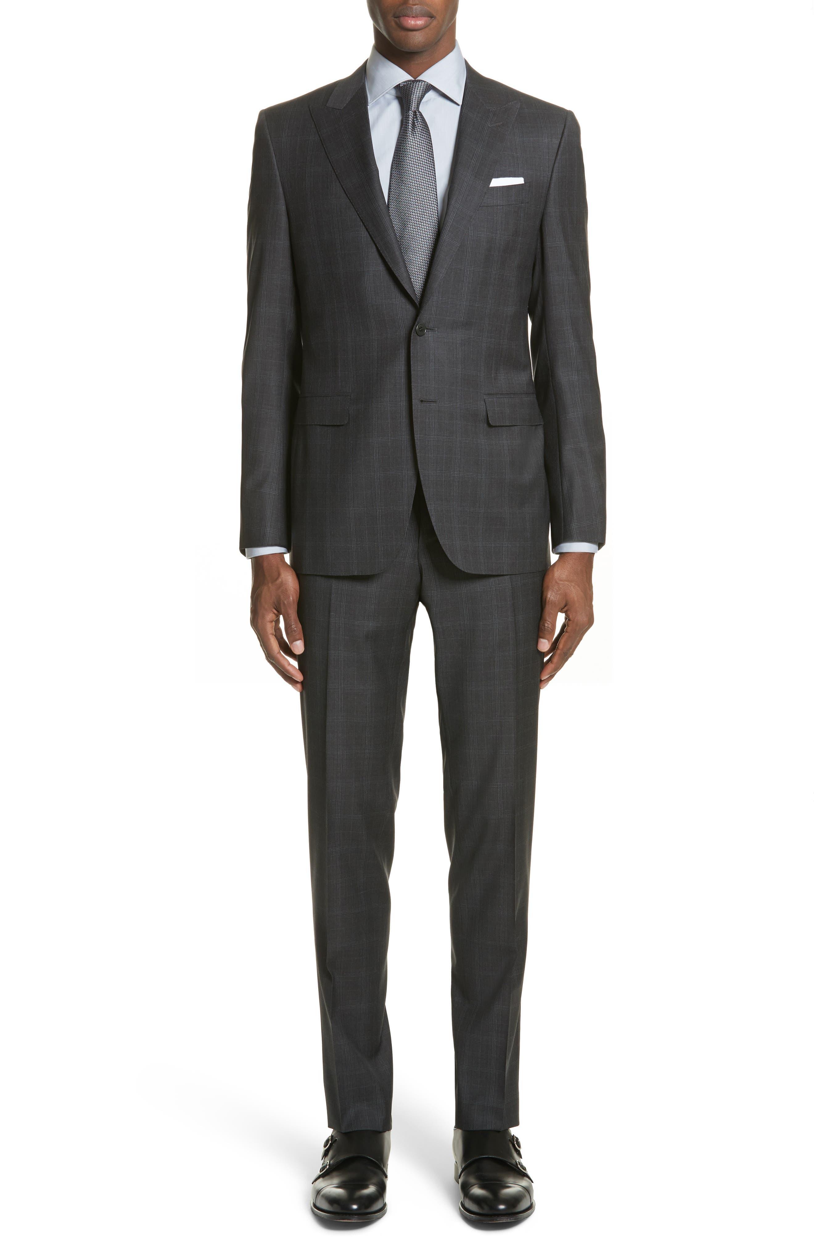 Classic Fit Plaid Wool Suit,                         Main,                         color, 023