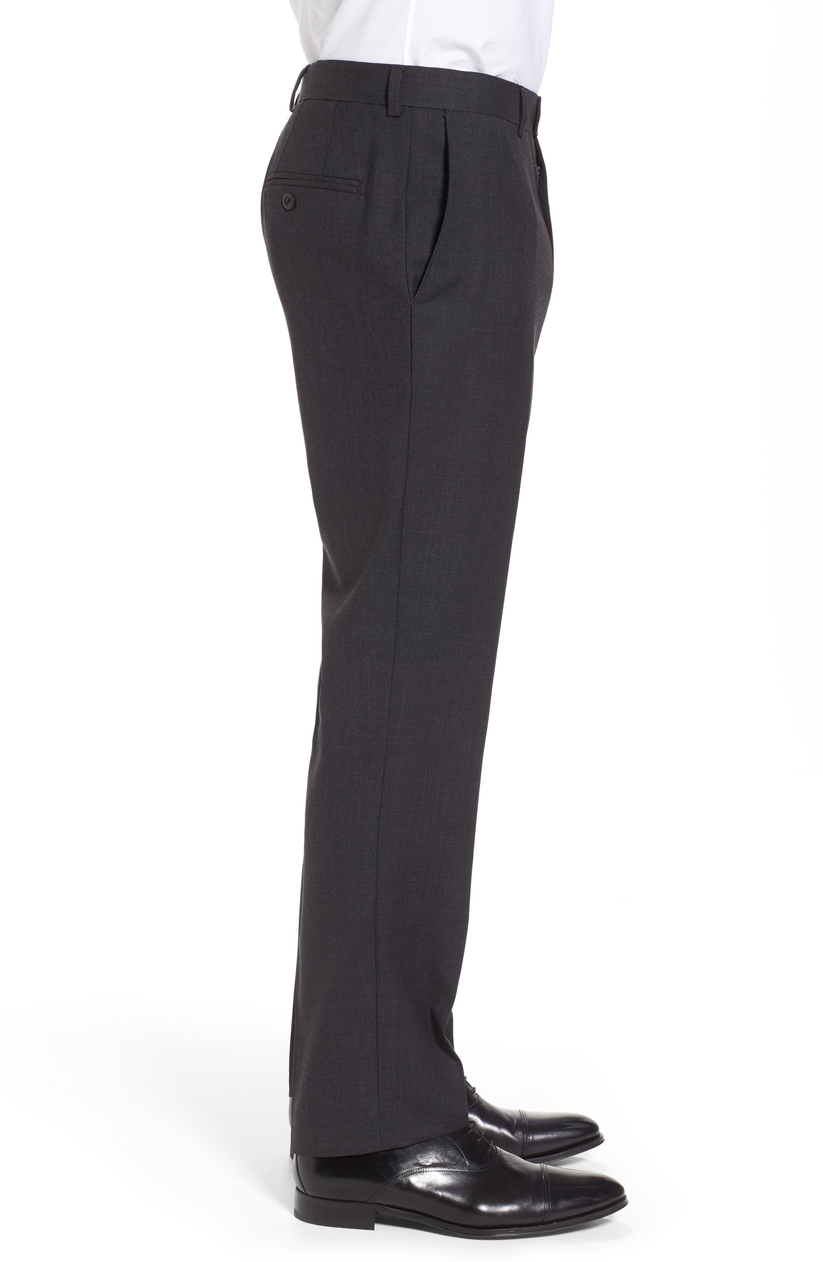 Gab Trim Fit Flat Front Pants,                             Alternate thumbnail 4, color,                             002