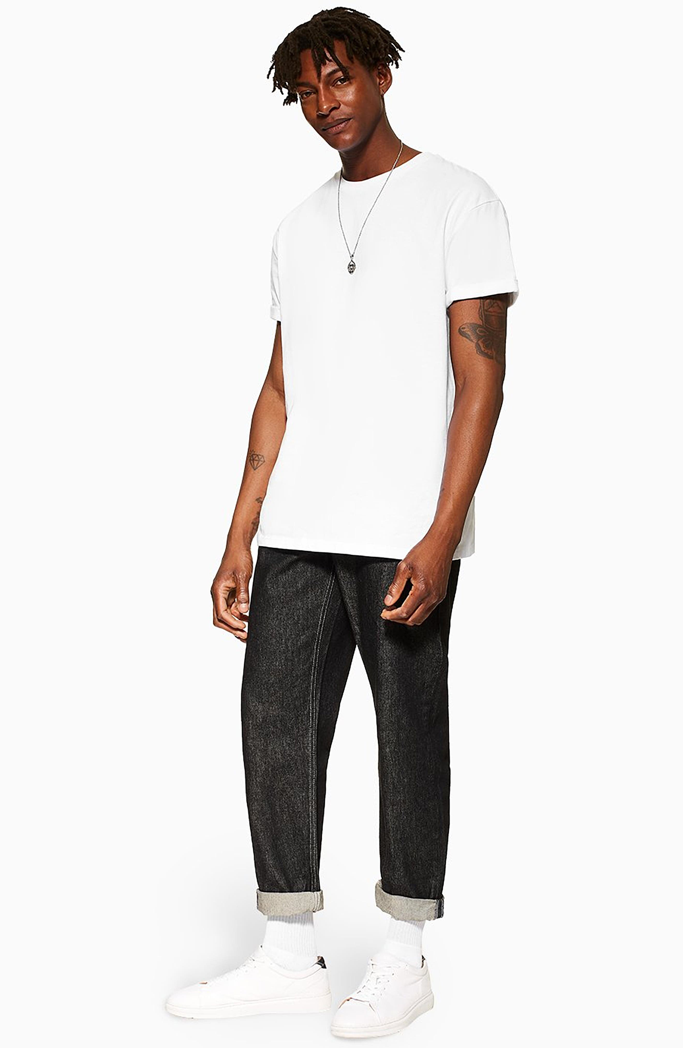 TOPMAN,                             Original Fit Jeans,                             Alternate thumbnail 5, color,                             BLACK