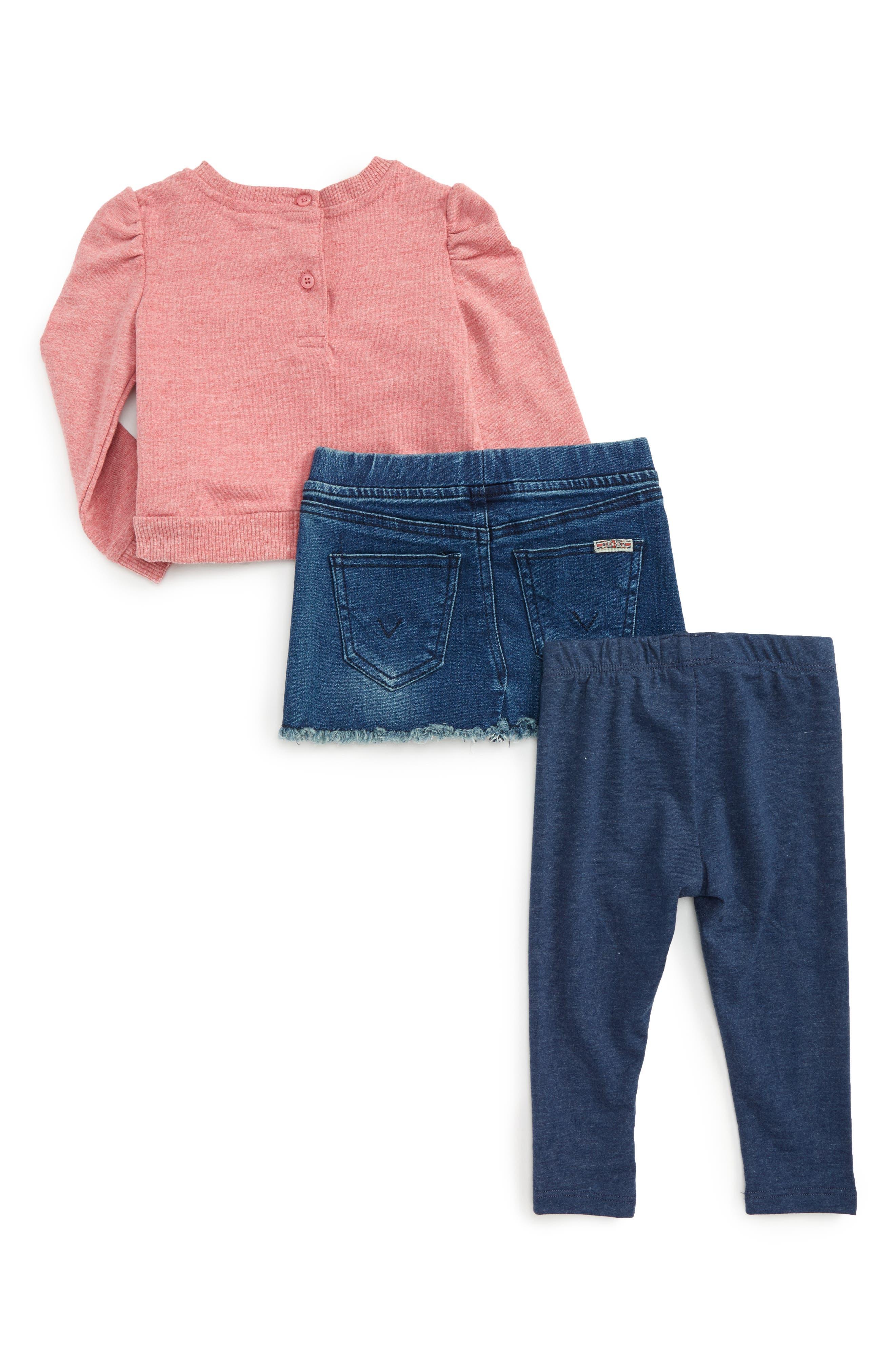 HUDSON KIDS,                             Crochet Pullover, Denim Skirt & Leggings Set,                             Alternate thumbnail 2, color,                             430
