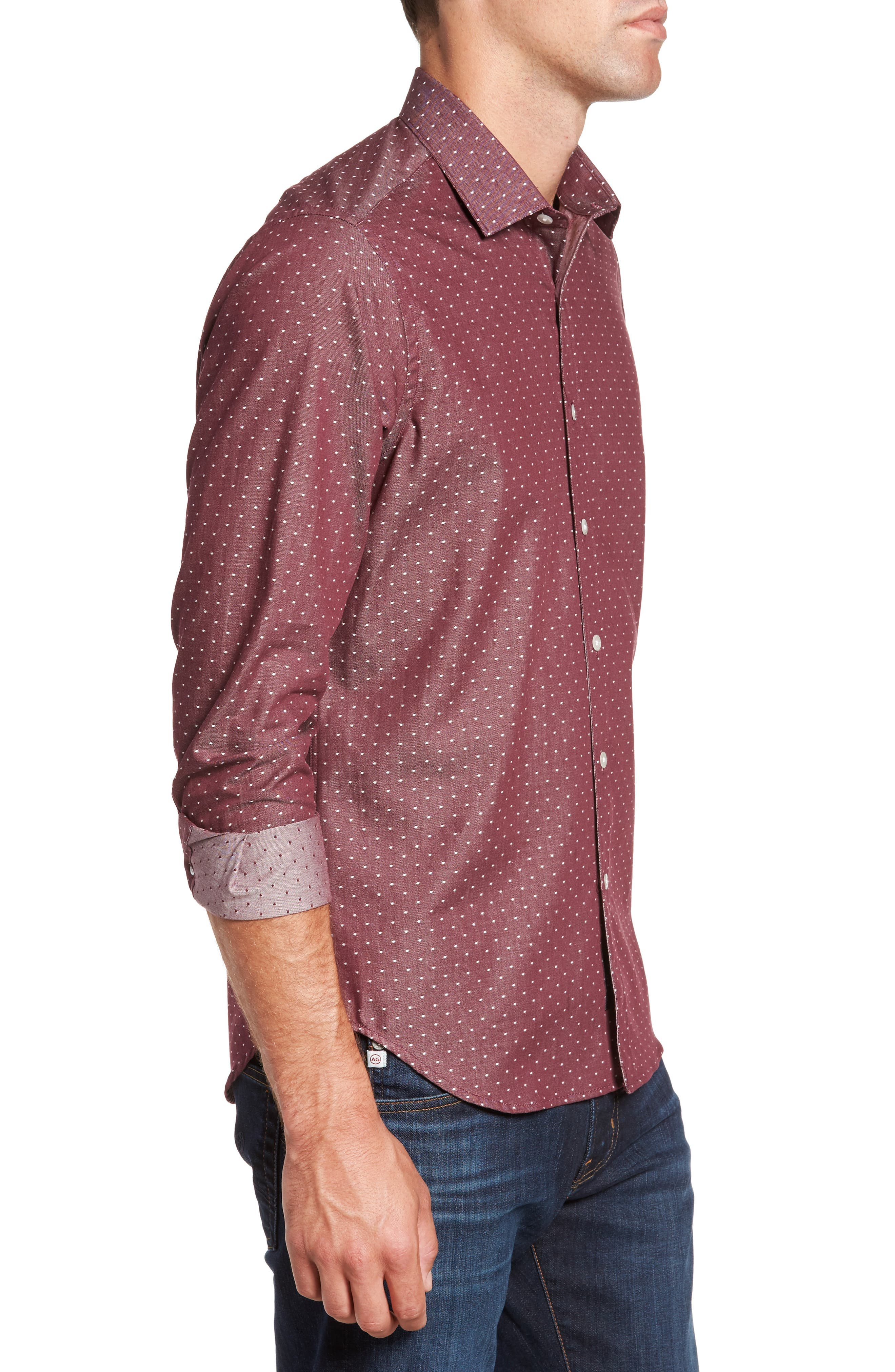 Slim Fit Dot Print Sport Shirt,                             Alternate thumbnail 3, color,                             930
