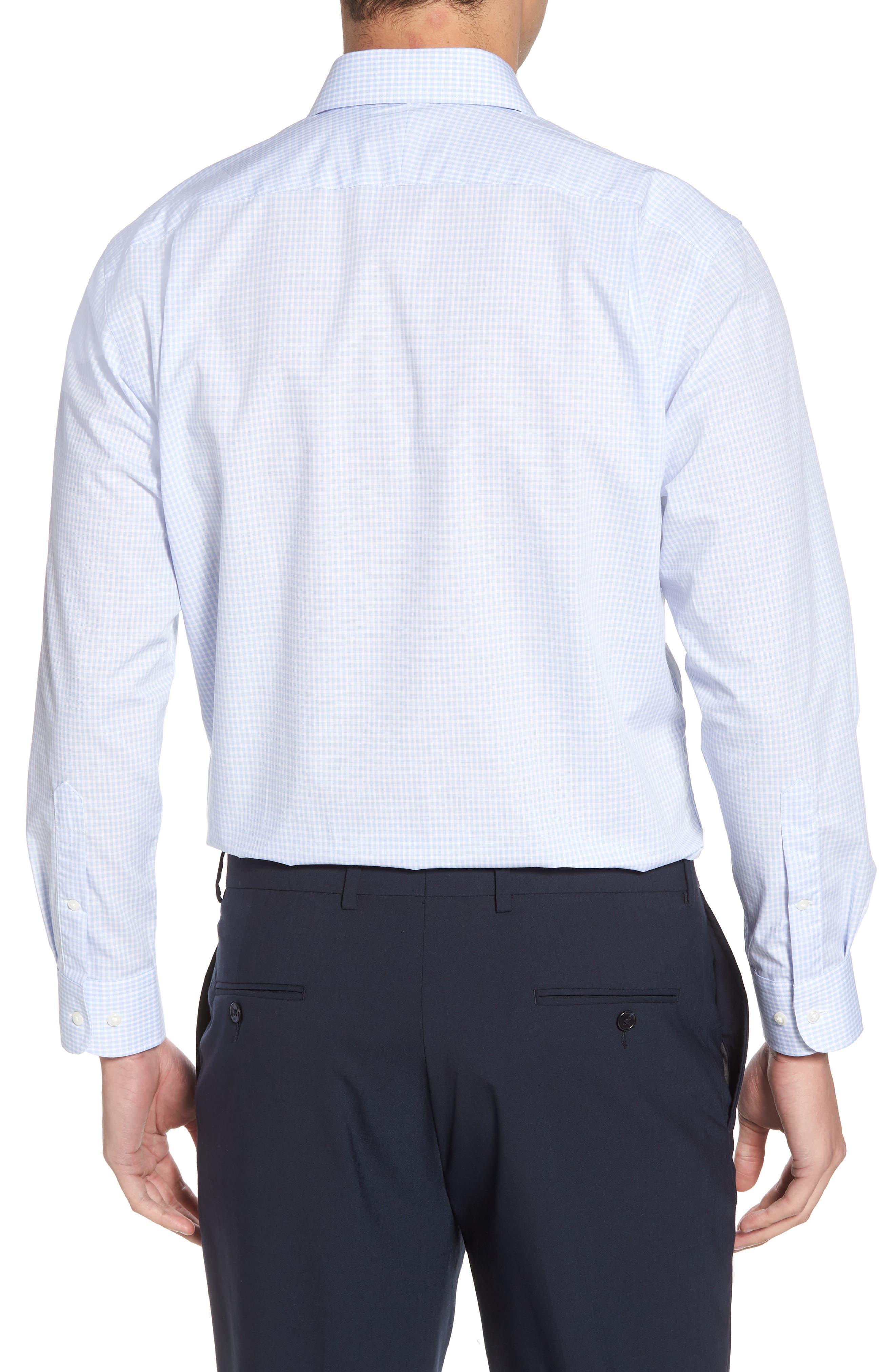 Traditional Fit Non-Iron Check Dress Shirt,                             Alternate thumbnail 3, color,                             BLUE XENON
