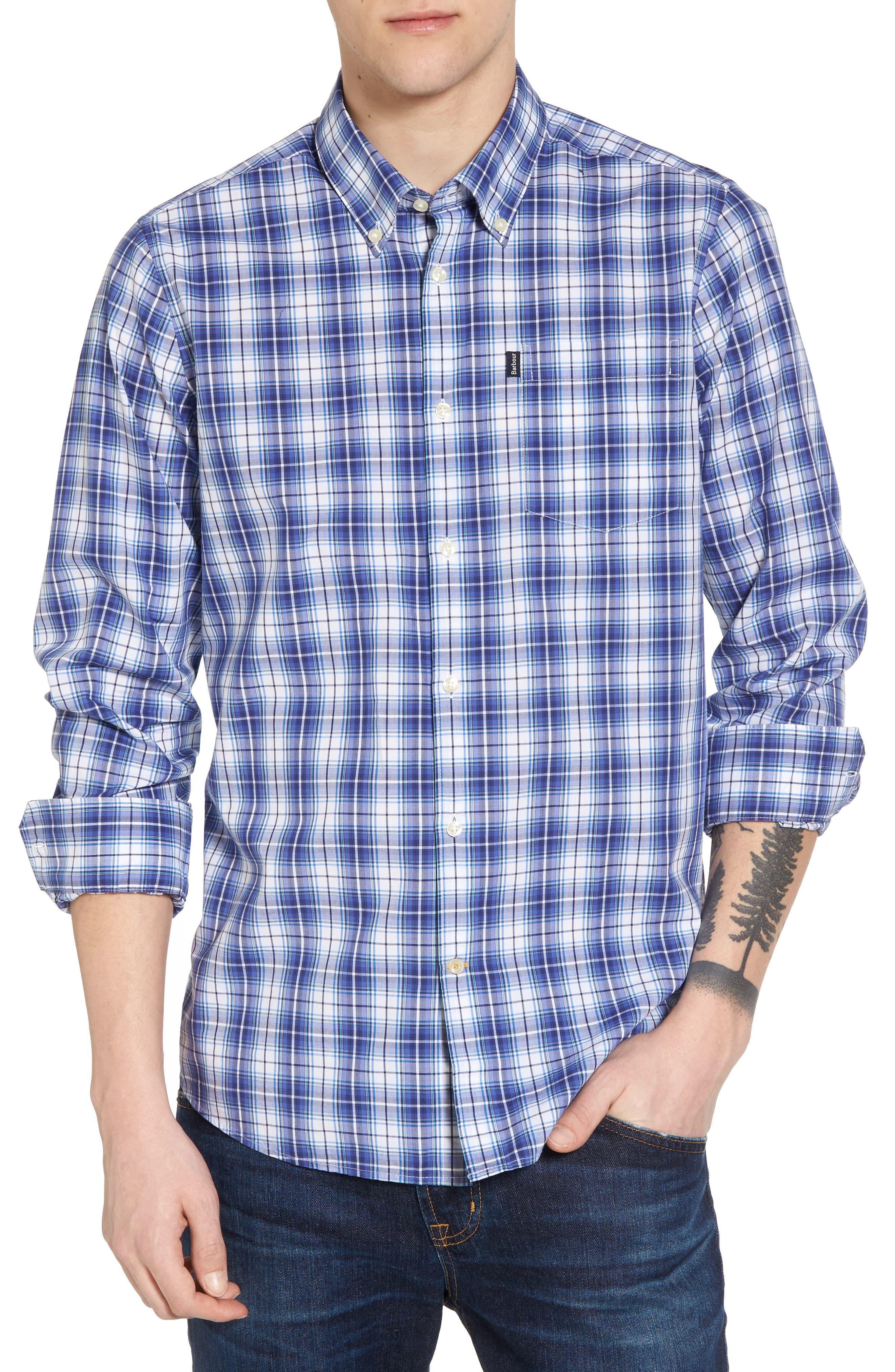 Leo Trim Fit Plaid Sport Shirt,                         Main,                         color, 420