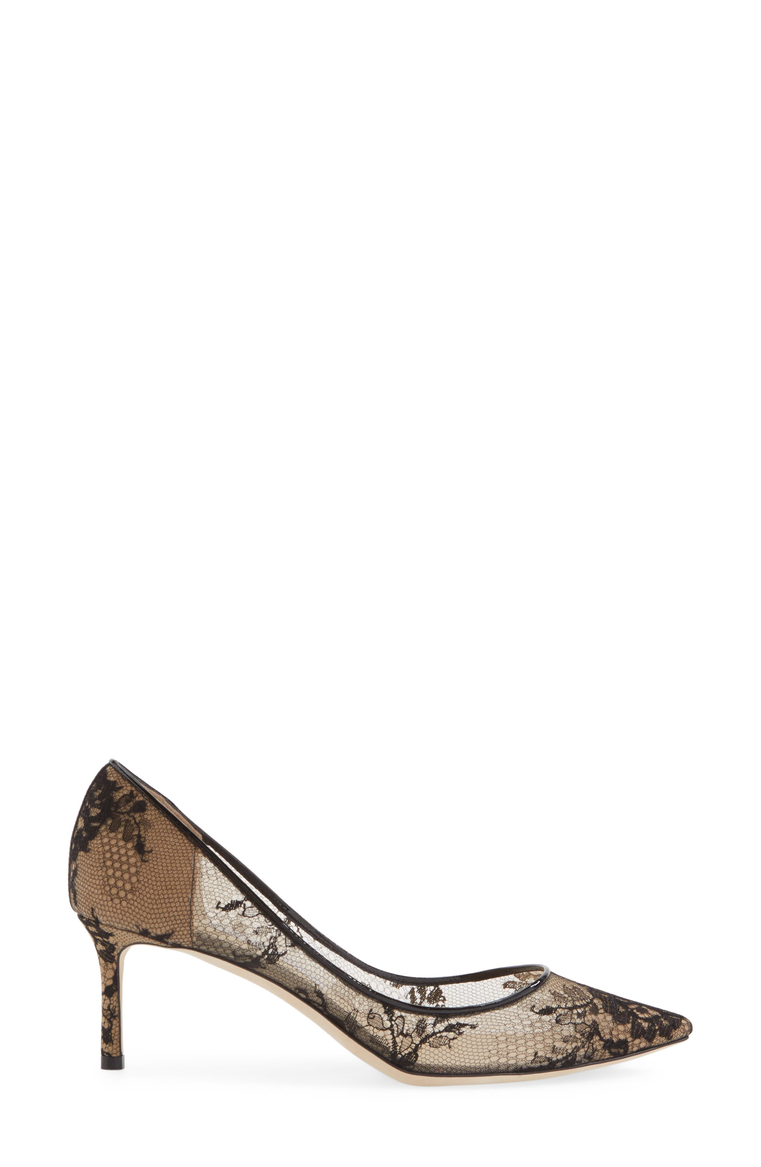JIMMY CHOO,                             'Romy' Lace Pointy Toe Pump,                             Alternate thumbnail 5, color,                             002