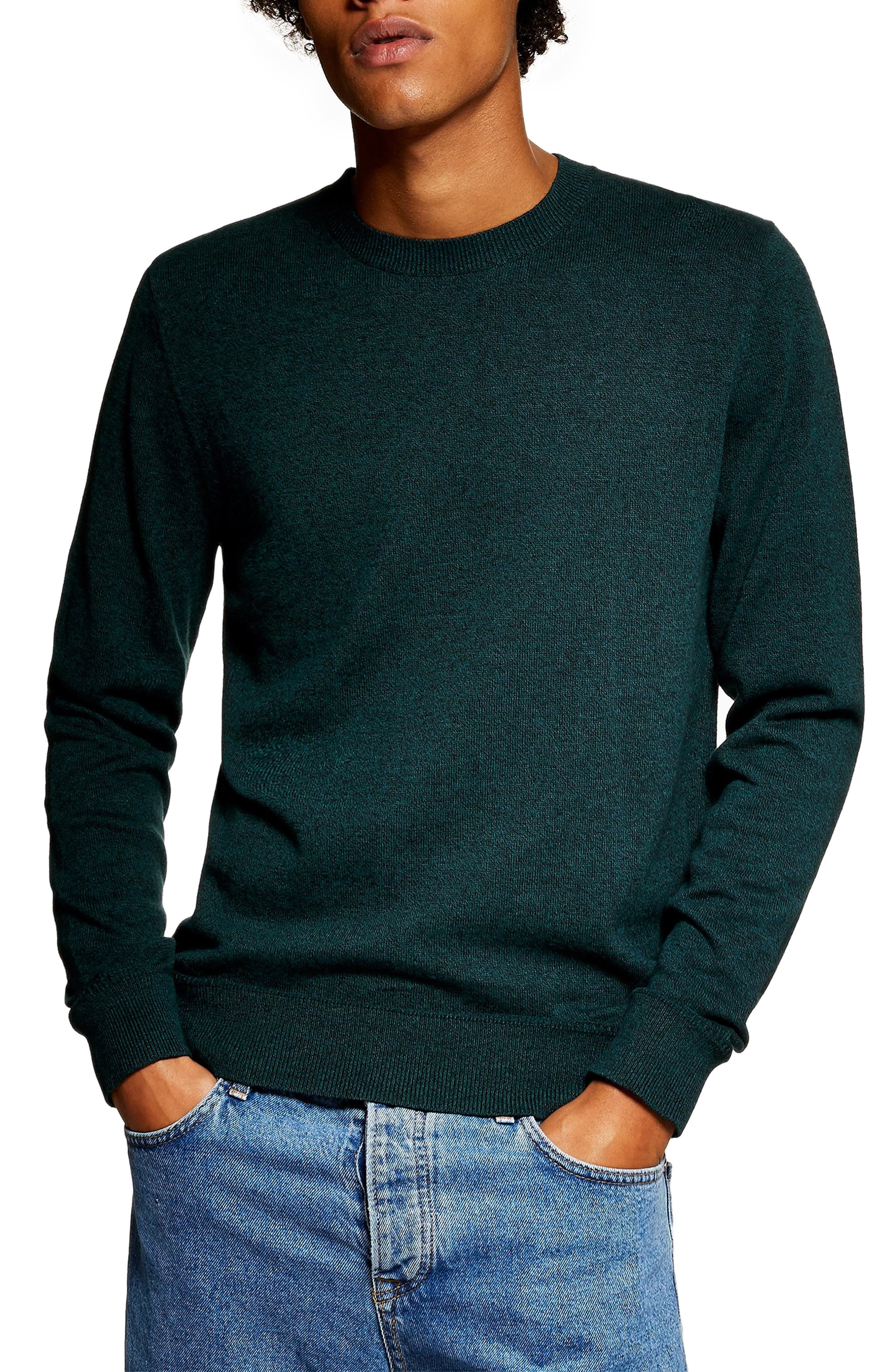 Marl Crewneck Sweater,                             Main thumbnail 1, color,                             GREEN