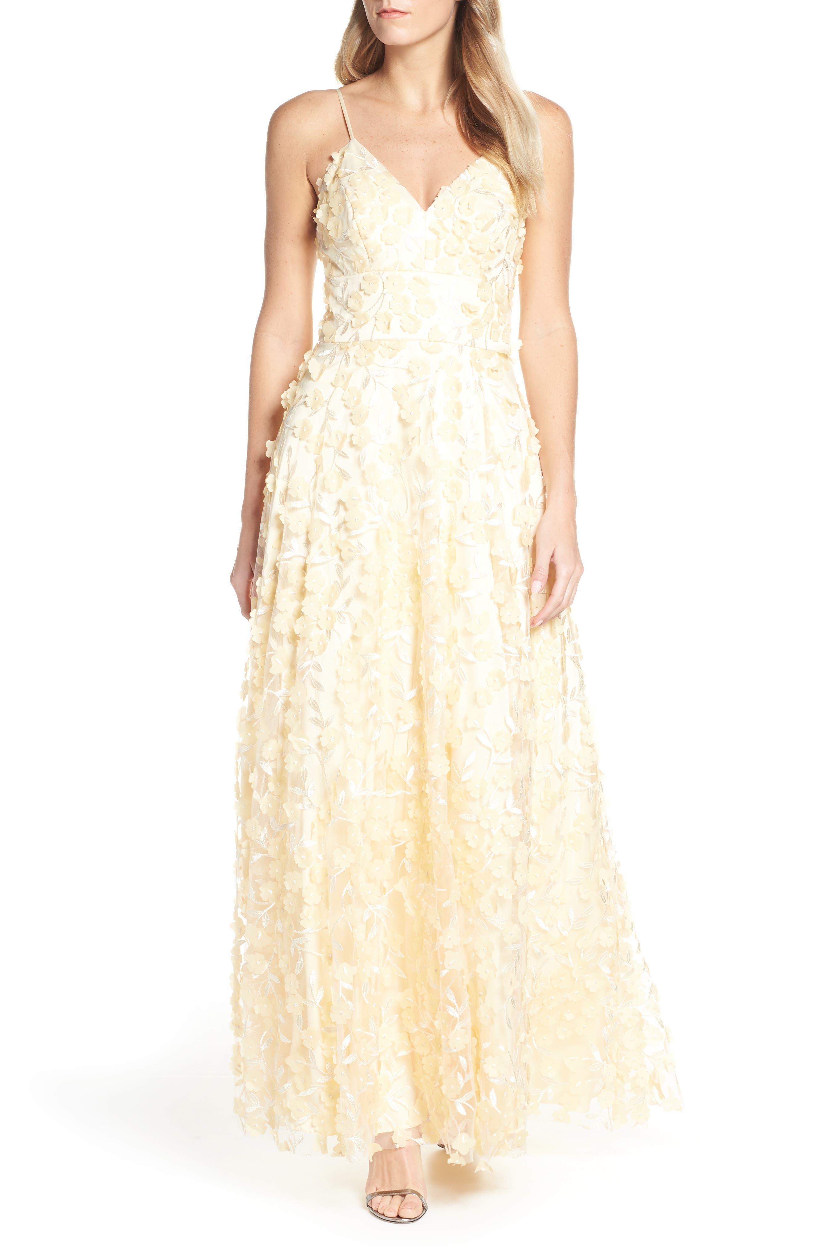 Eliza J Floral Applique Evening Dress, Yellow